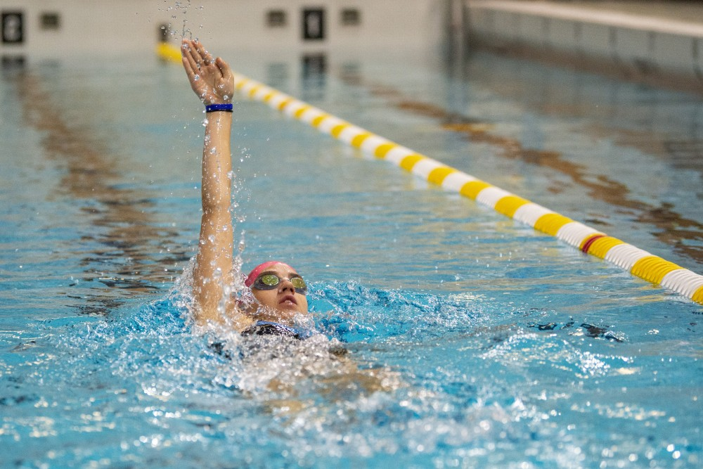 Rachel Zilinskas trains in the pool at Cooke Hall on Friday, July 26 after her early morning spin class.
