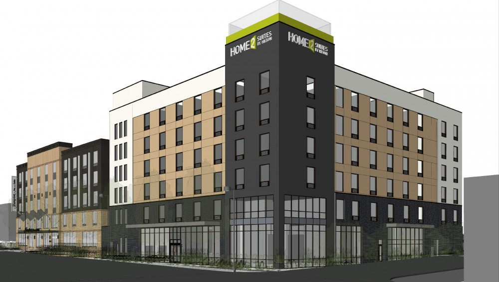 A rendering of Home2 Suites at 2800 University Ave. SE, a new hotel in Prospect Park.