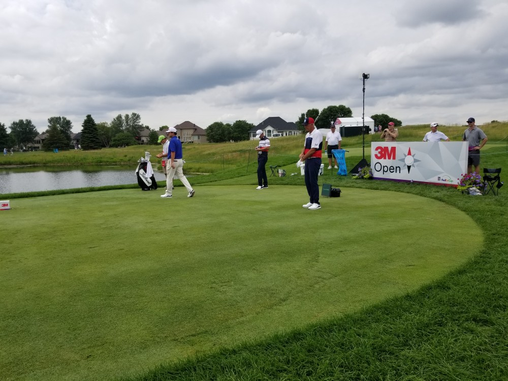 Tom Lehman prepares for his tee shot on the third hole of the 3M Open at TPC Twin Cities in Blaine, Minnesota on Sunday, July 7.