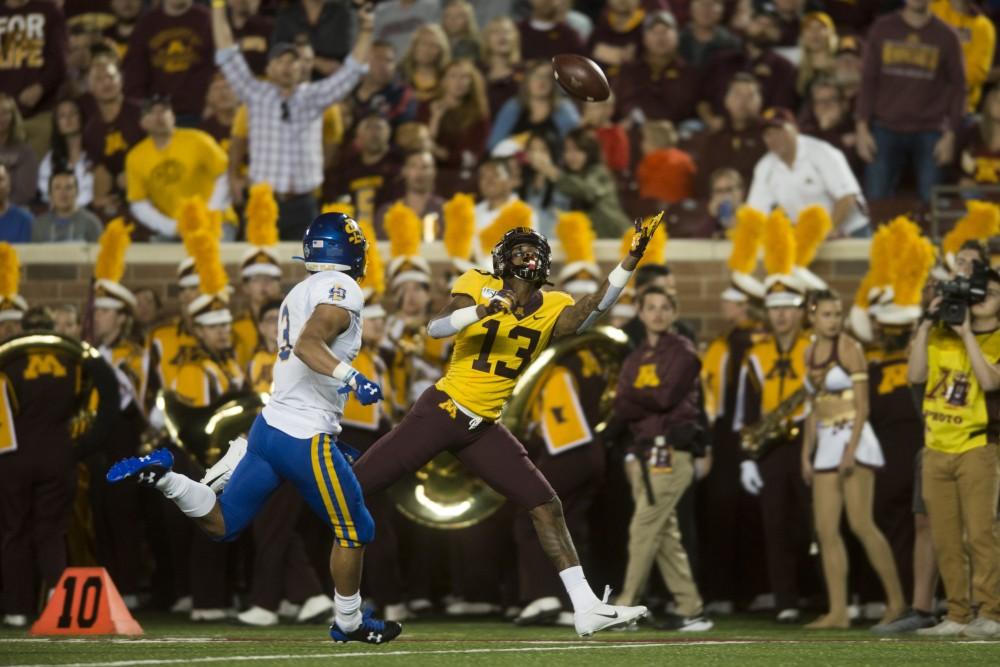 Wide receiver Rashod Bateman reaches to catch a pass at TCF Bank Stadium on Thursday, Aug. 29. Minnesota defeated South Dakota State 28-21.