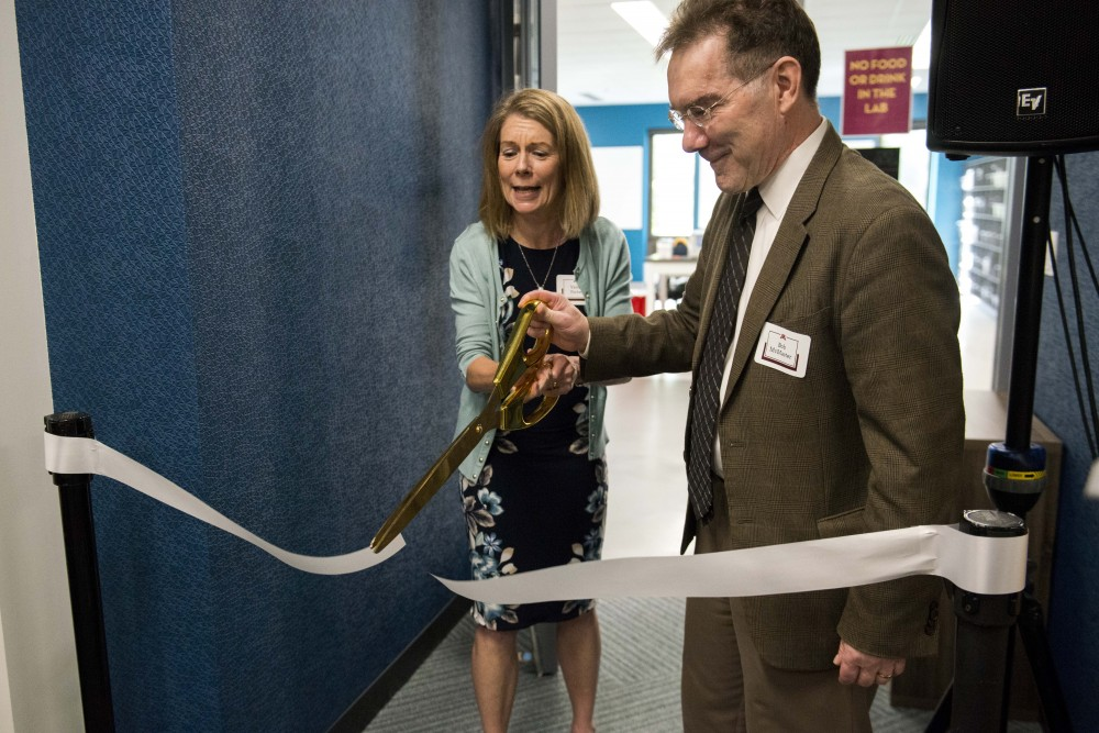 Valery Forbes, Dean of the College of Biological Sciences, and Robert McMaster, Vice provost and Dean for the Office of Undergraduate Education, cut a ribbon at the new Active Learning Lab at the Biological Sciences Center in St. Paul on Friday, Sept. 6.