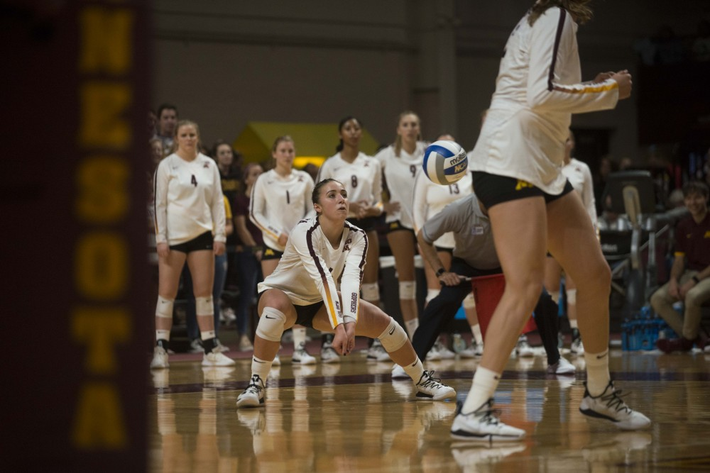 Freshman Rachel Kilkelly looks receive the ball at the Maturi Pavilion on Saturday, Sept. 7, 2019. The Gophers defeated Florida 3 sets to 0. (Jack Rodgers / Minnesota Daily)