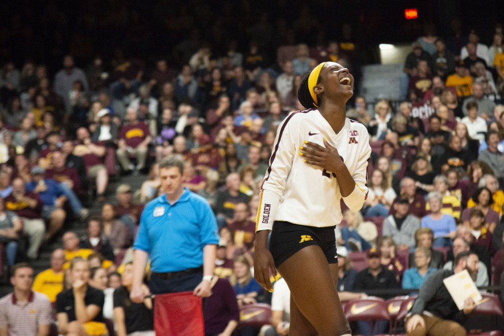 Outside Hitter Adanna Rollins reacts to a play at Maturi Paviion on Friday, Sept. 27, 2019. The Gophers went on to defeat Indiana three matches to none.