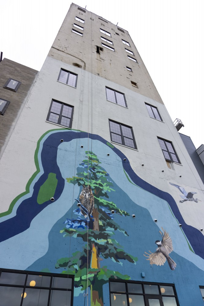A new mural on the side of the Bunge Tower is seen on Friday, Sept. 27, 2019.