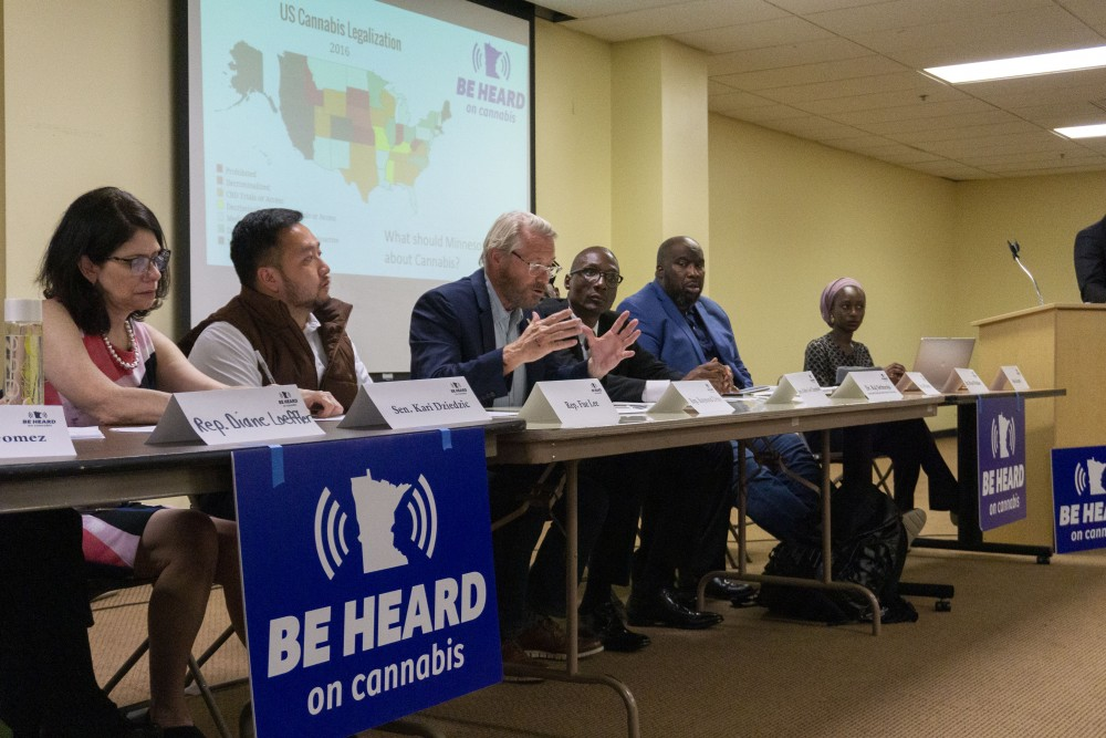 Representative Raymond Dehn responds to community questions at the Minneapolis Urban League on Wednesday, Sept. 25.