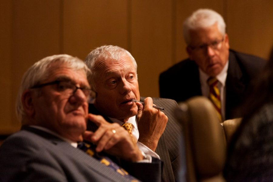 Representative Steven Sviggum listens to an address during the September Board of Regents meeting at the McNamara Alumni Center on Friday, Sep. 13.