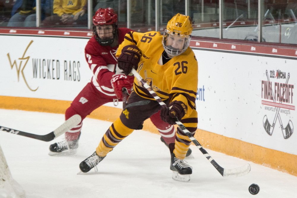 Forward Sarah Potomak chases after the puck at Ridder Arena on Sunday, March 10, 2019.