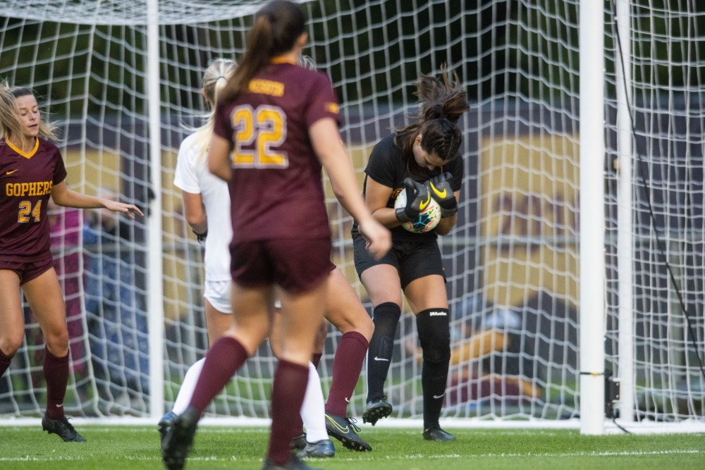 Goalkeeper Maddie Nielsen saves a goal at Elizabeth Lyle Robbie Stadium on Friday Sept. 27, 2019. The Gophers lost to Penn State 0-1 in overtime.