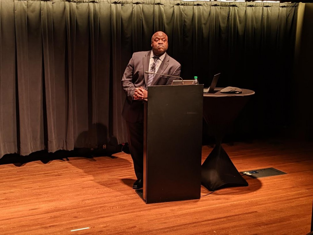 <p>Gregory Washington, the second provost candidate, spoke at a public forum Wednesday night. </p>