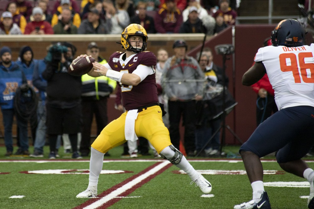 Quarterback Tanner Morgan looks to throw the ball at TCF Bank Stadium on Saturday, Oct. 5, 2019. The Gophers defeated Illinois 40 to 17 to bring their record to 5-0.