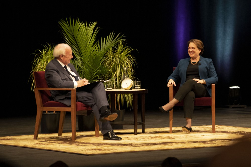 Justice Elena Kagan speaks in Northrop Auditorium as part of the 2019 Stein Lecture on Monday, Oct 21.