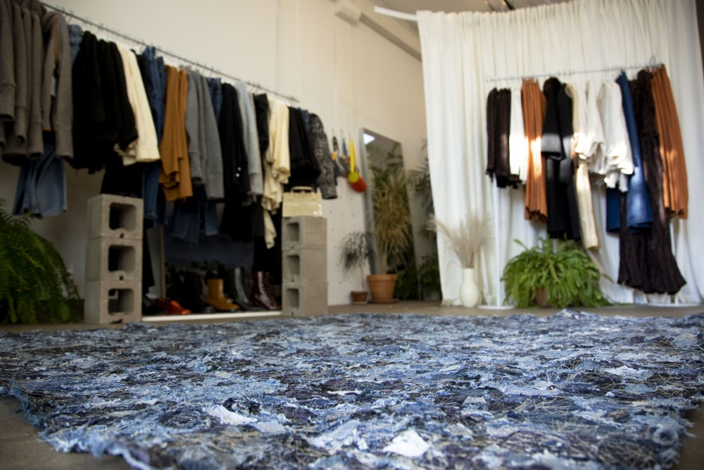 A zero waste rug created by Winsome Goods is seen on Friday, Oct, 18. The rug saves 11 pounds of textile waste from landfills and is made from nearly all cotton and denim scraps.