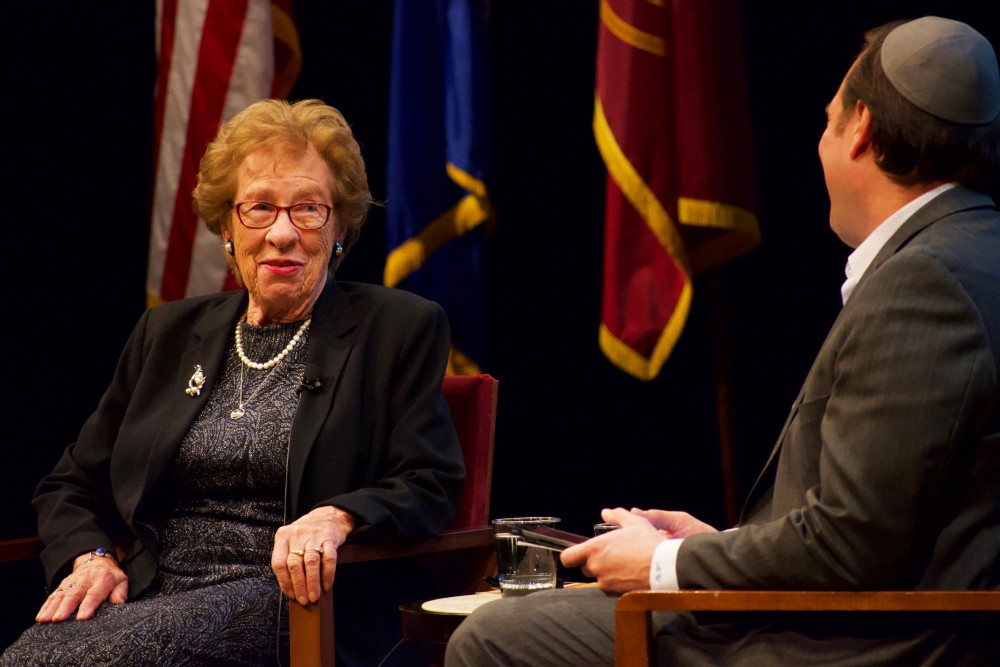 Holocaust survivor Eva Schloss is interviewed by Michael Waldman at Northrop Auditorium on Sunday, Oct. 27.