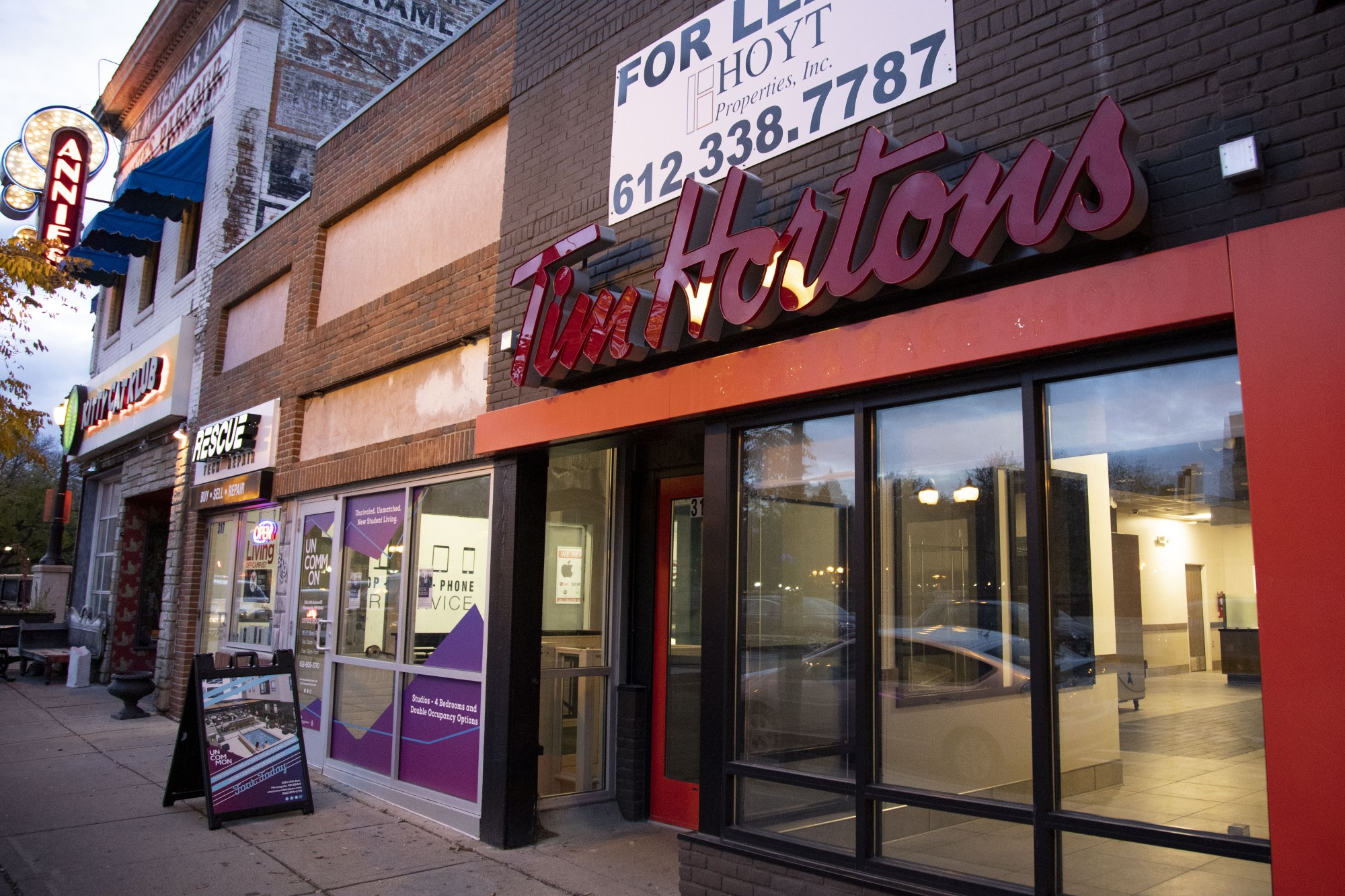 The recently vacated Tim Hortons, soon to be Pho Mai, as seen in Dinkytown on Monday, Nov. 4. (Jasmin Kemp / Minnesota Daily)