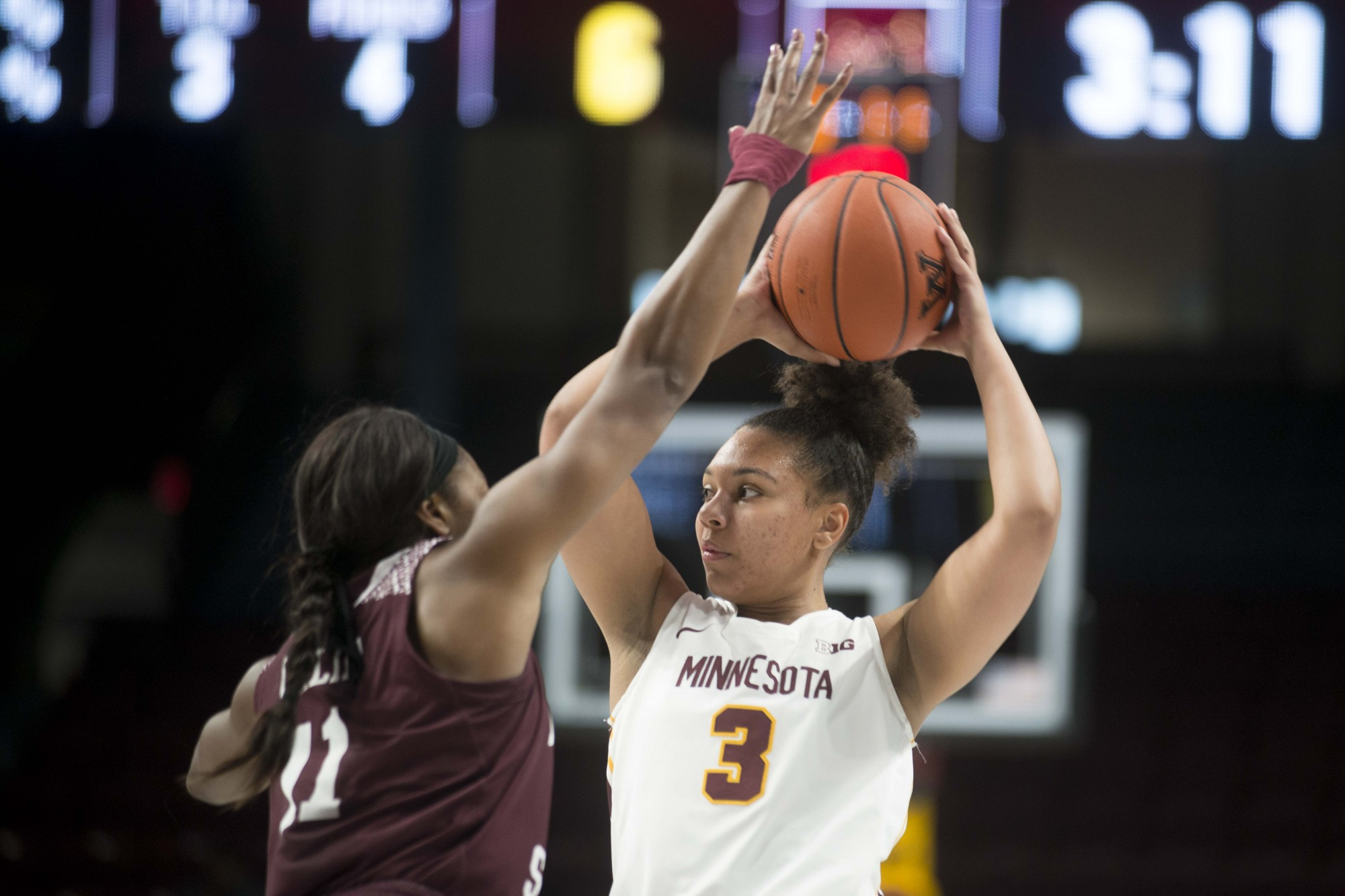 Forward Destiny Pitts looks to pass the ball through a defender at Williams Arena on Tuesday, Nov. 5. The Gophers fell to Missouri State 69-77.