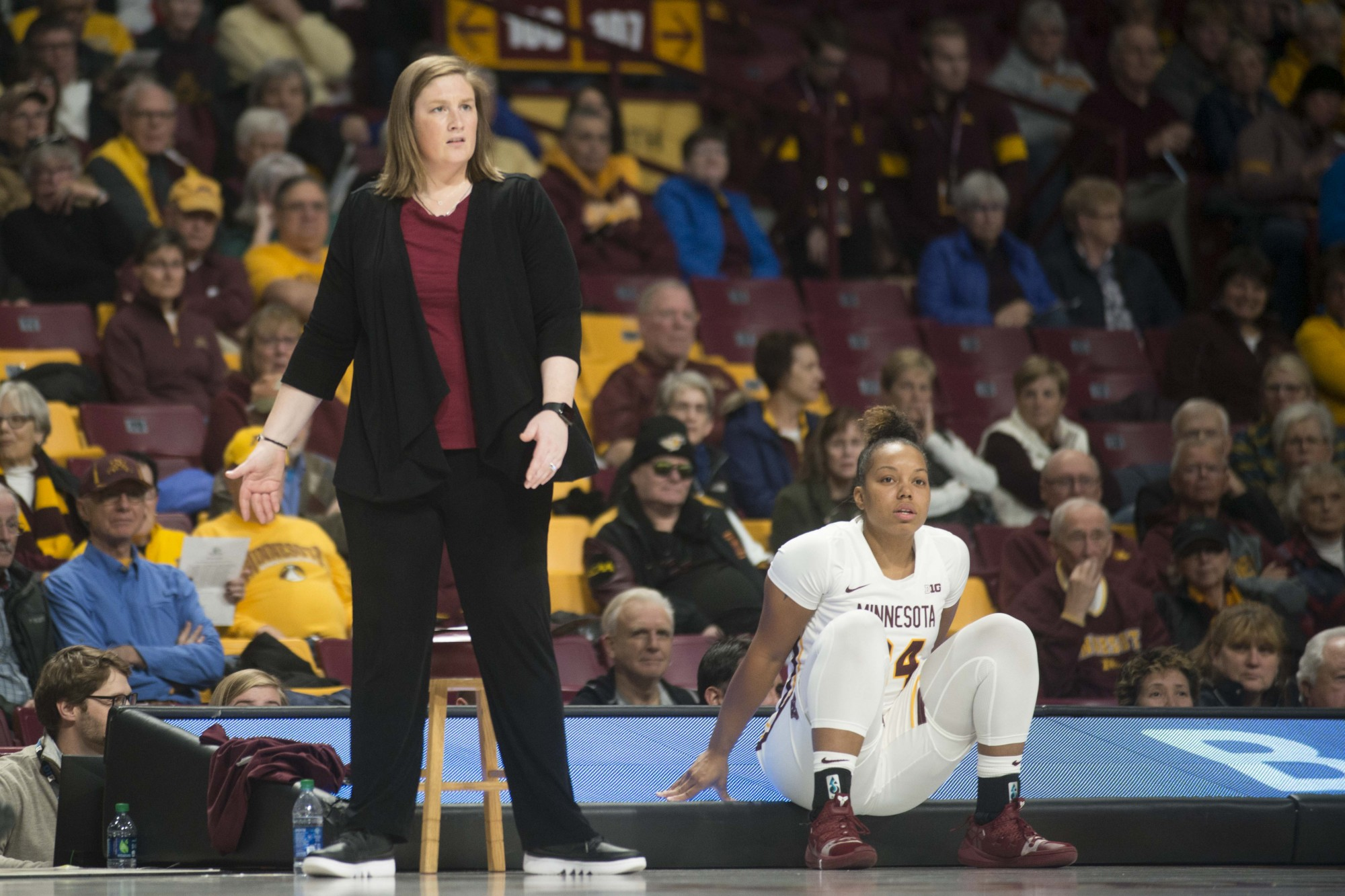 Head coach Lindsay Whalen reacts to a scored point at Williams Arena on Tuesday, Nov. 5, 2019. The Gophers fell to Missouri State 69-77.