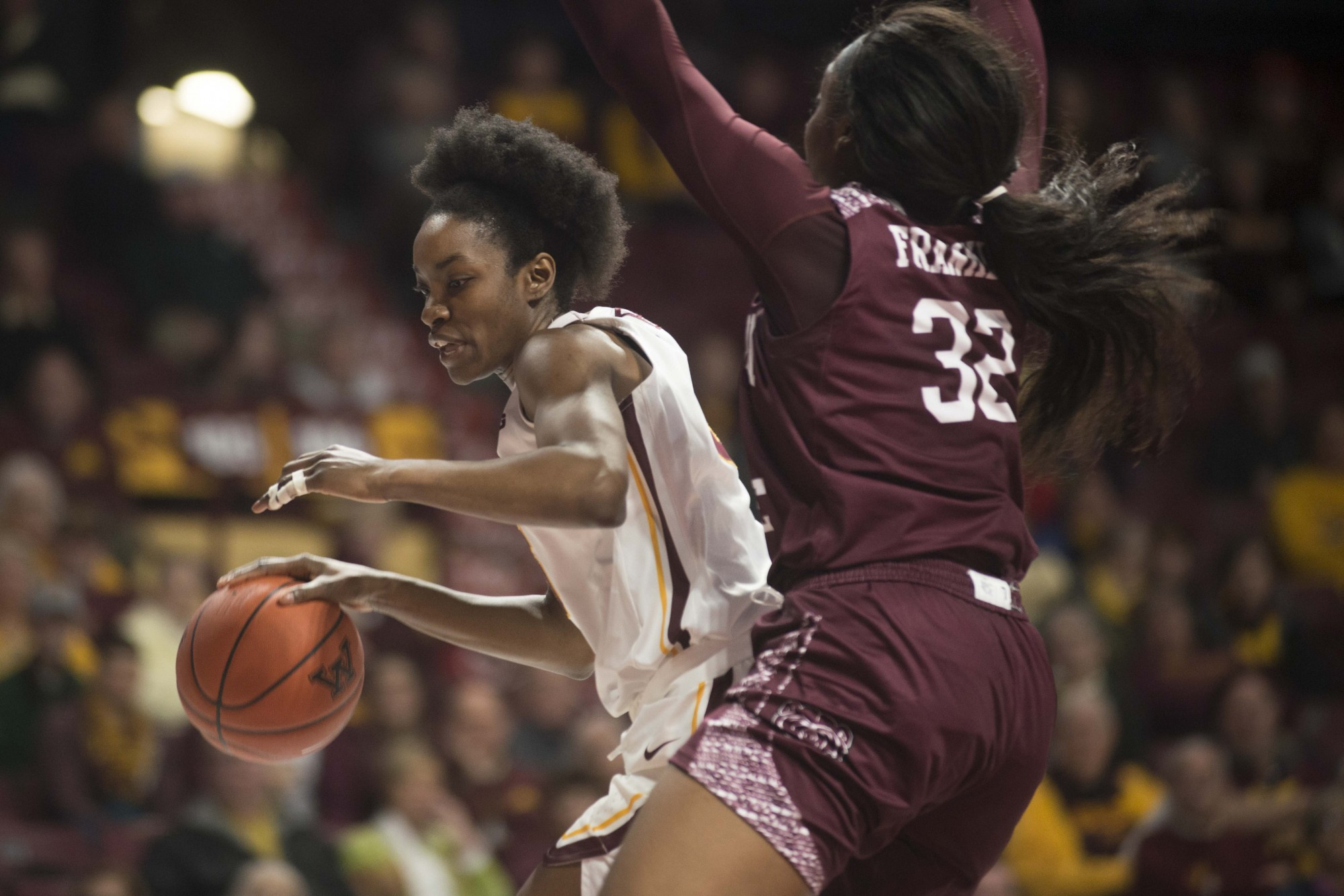 Guard Taiye Bello carries the ball through traffic at Williams Arena on Tuesday, Nov. 5. The Gophers fell to Missouri State 69-77.