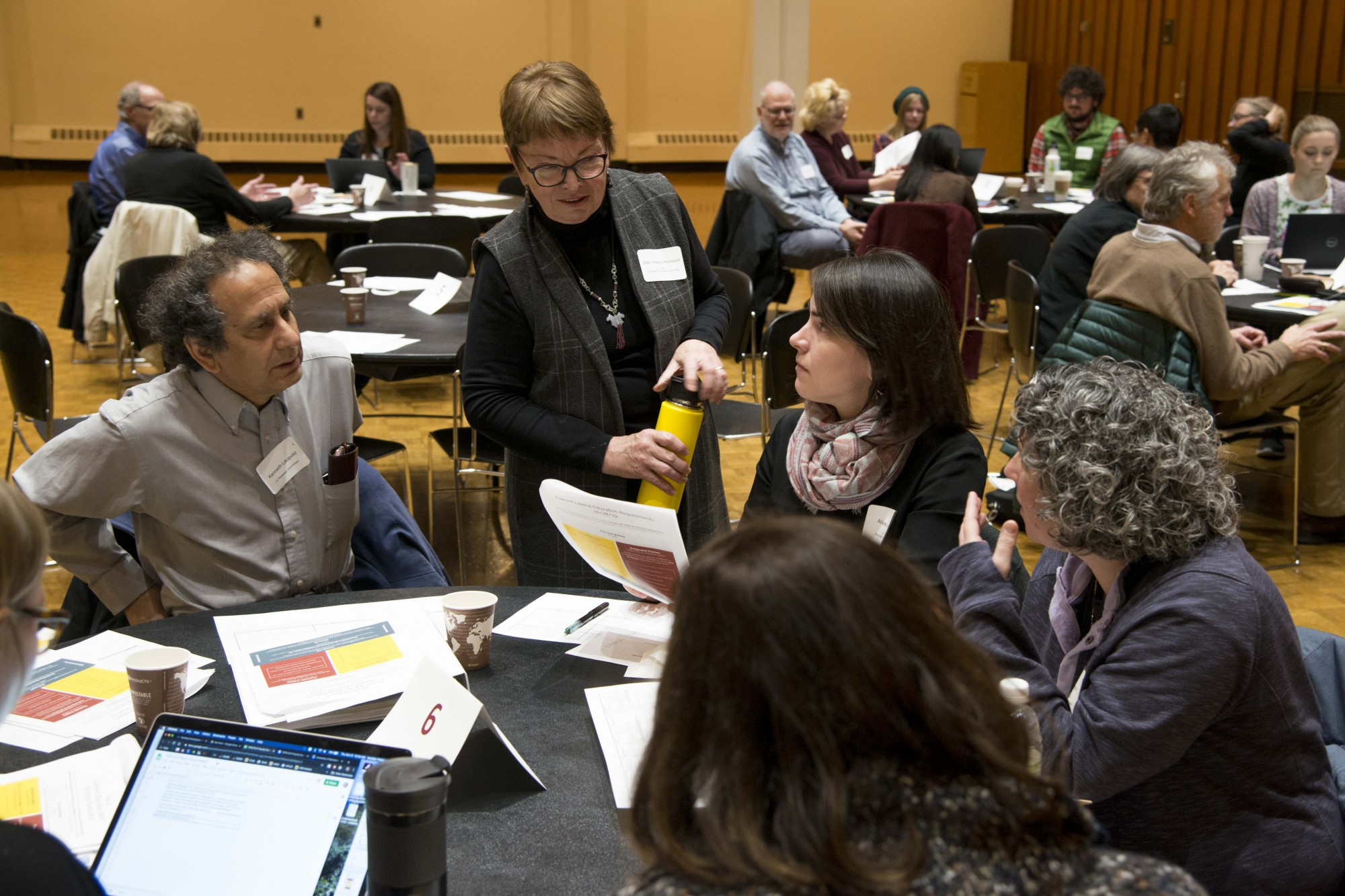 Professor Sally Gregory Kohlstedt, chair of the LE Redesign Committee, speaks with faculty during a forum in the Northstar Ballroom at the St. Paul Student Center on Thursday, Oct. 31. Faculty from various departments offered feedback on proposed changes to liberal education requirements.