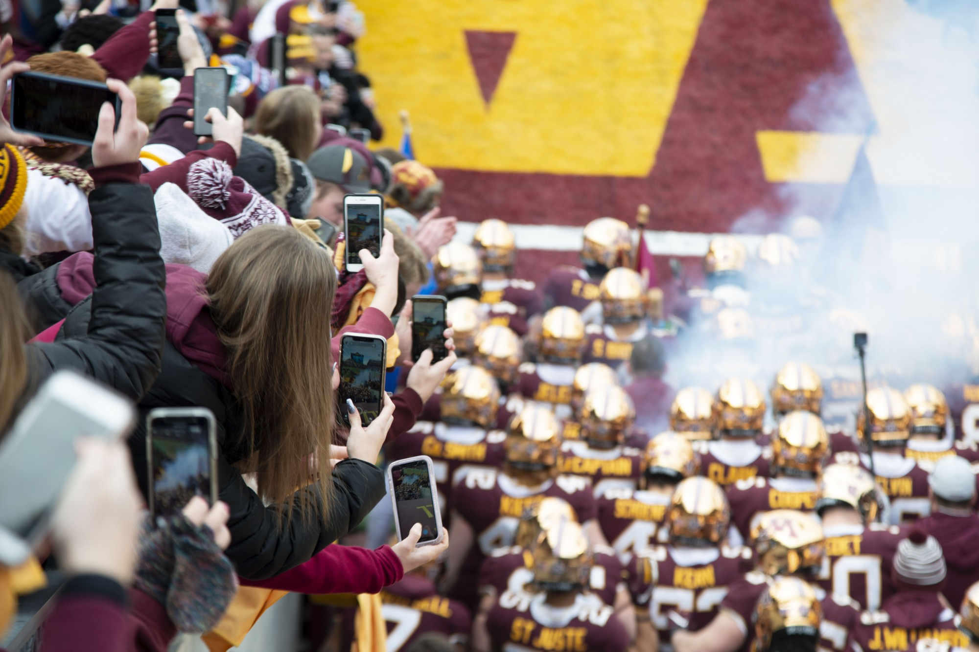 Fans cheer for the Gophers as they enter the field at TCF Bank Stadium on Saturday, Nov. 9. The Gophers defeated Penn State 31-26 to bring their record to 9-0. A first since 1904.