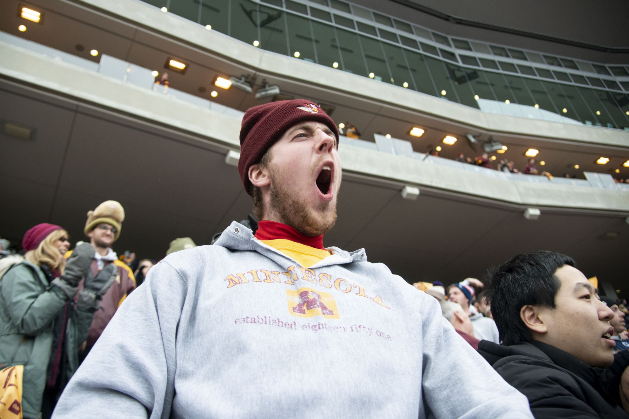 A fan cheers for the Gophers during the game against Penn State at TCF Bank Stadium Saturday, Nov. 9. The Gophers won 31-26 bringing their record to 9-0. A first since 1904.