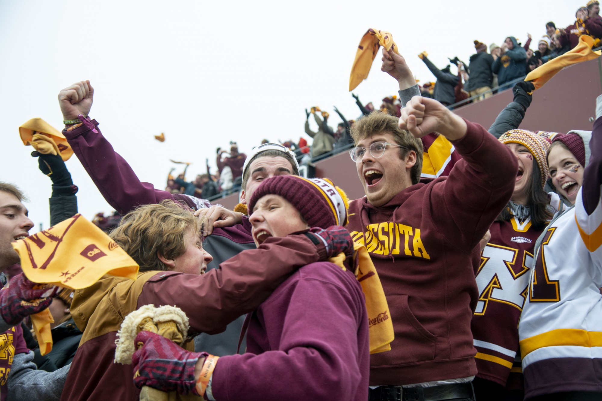Fans cheer for the Gophers after winning the game against Penn State at TCF Bank Stadium Saturday, Nov. 9, 2019. The Gophers won 31-26 bringing their record to 9-0. A first since 1904.