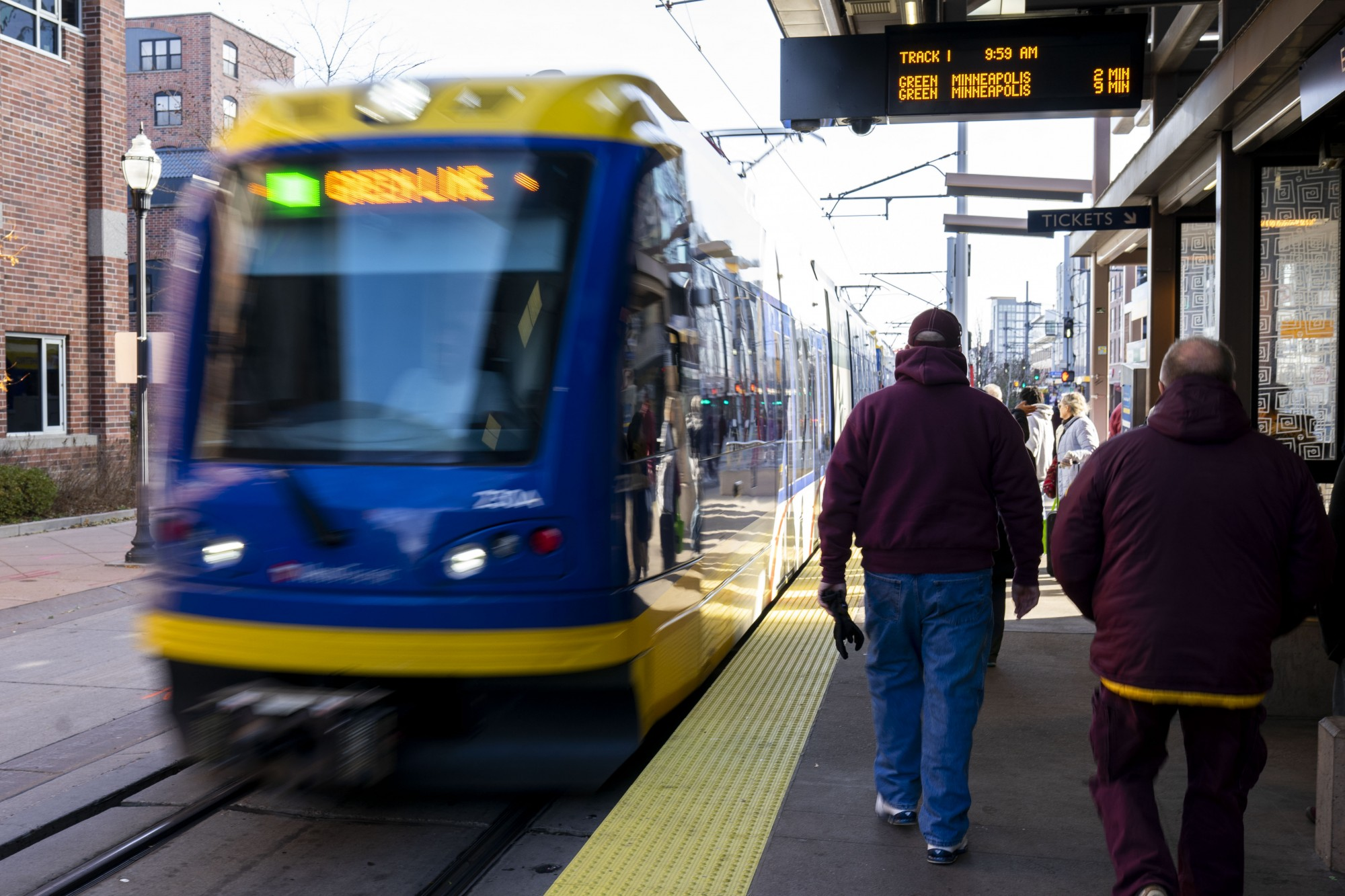 The Metro Green Line pulls into the East Bank Station on Saturday, Nov. 9.
