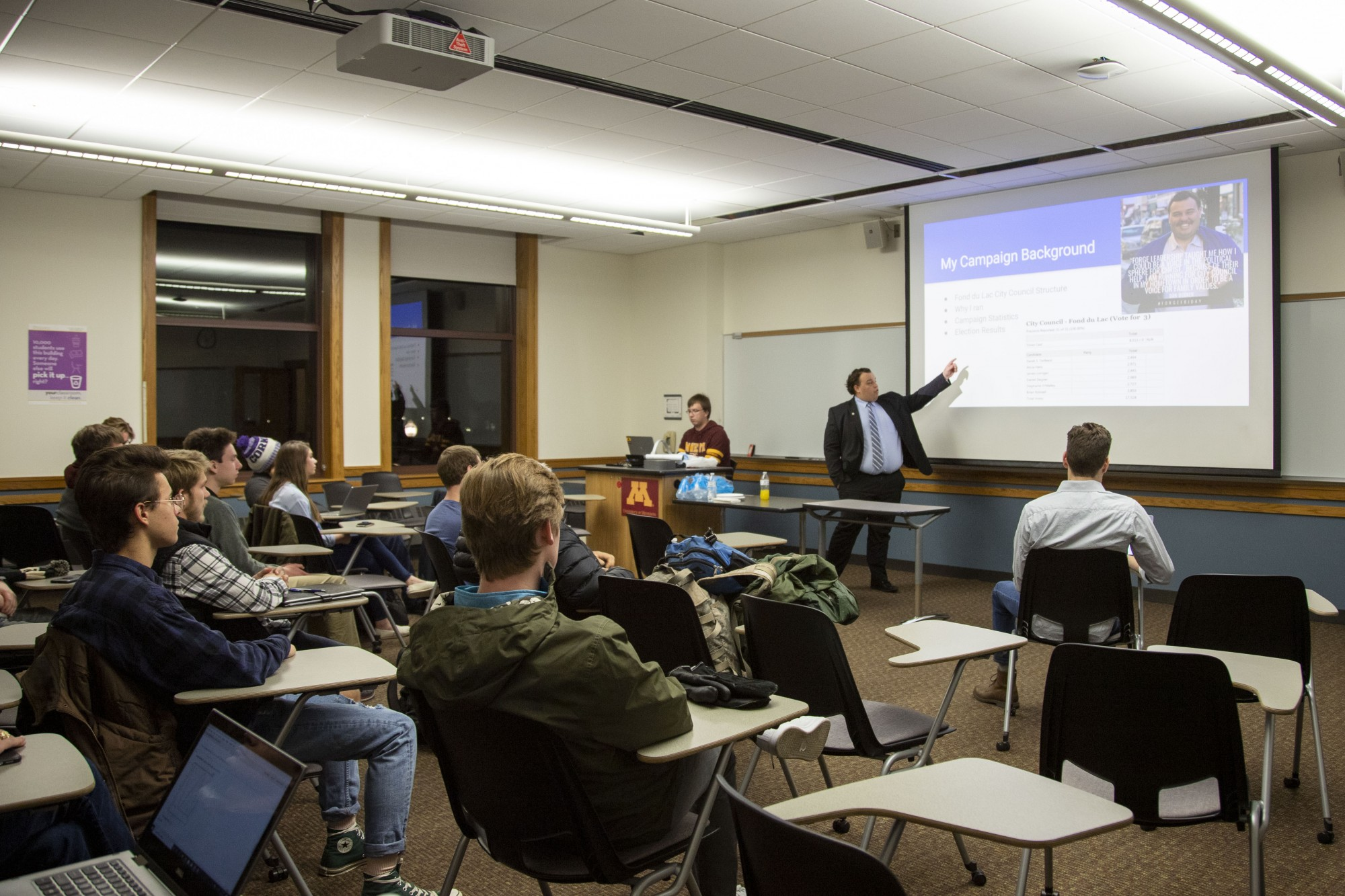 Fond Du Lac City Councilman Dan Degner presents at a College Republicans weekly meeting on Tuesday, Nov. 5.