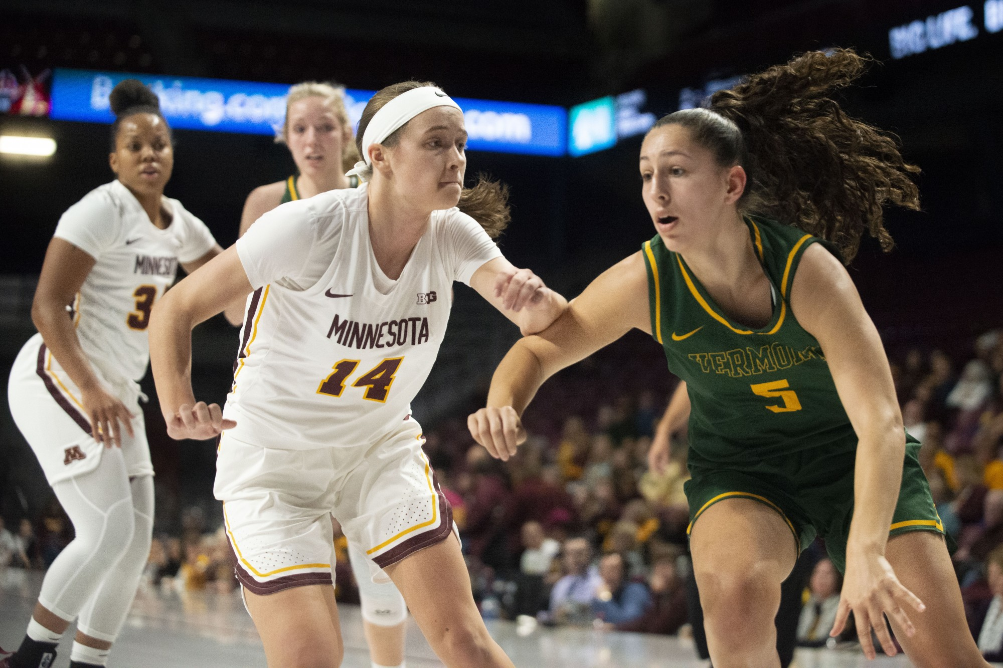 Guard Sara Scalia fights for the ball at Williams Arena on Sunday, Nov. 10. The Gophers defeated Vermont 90-58.