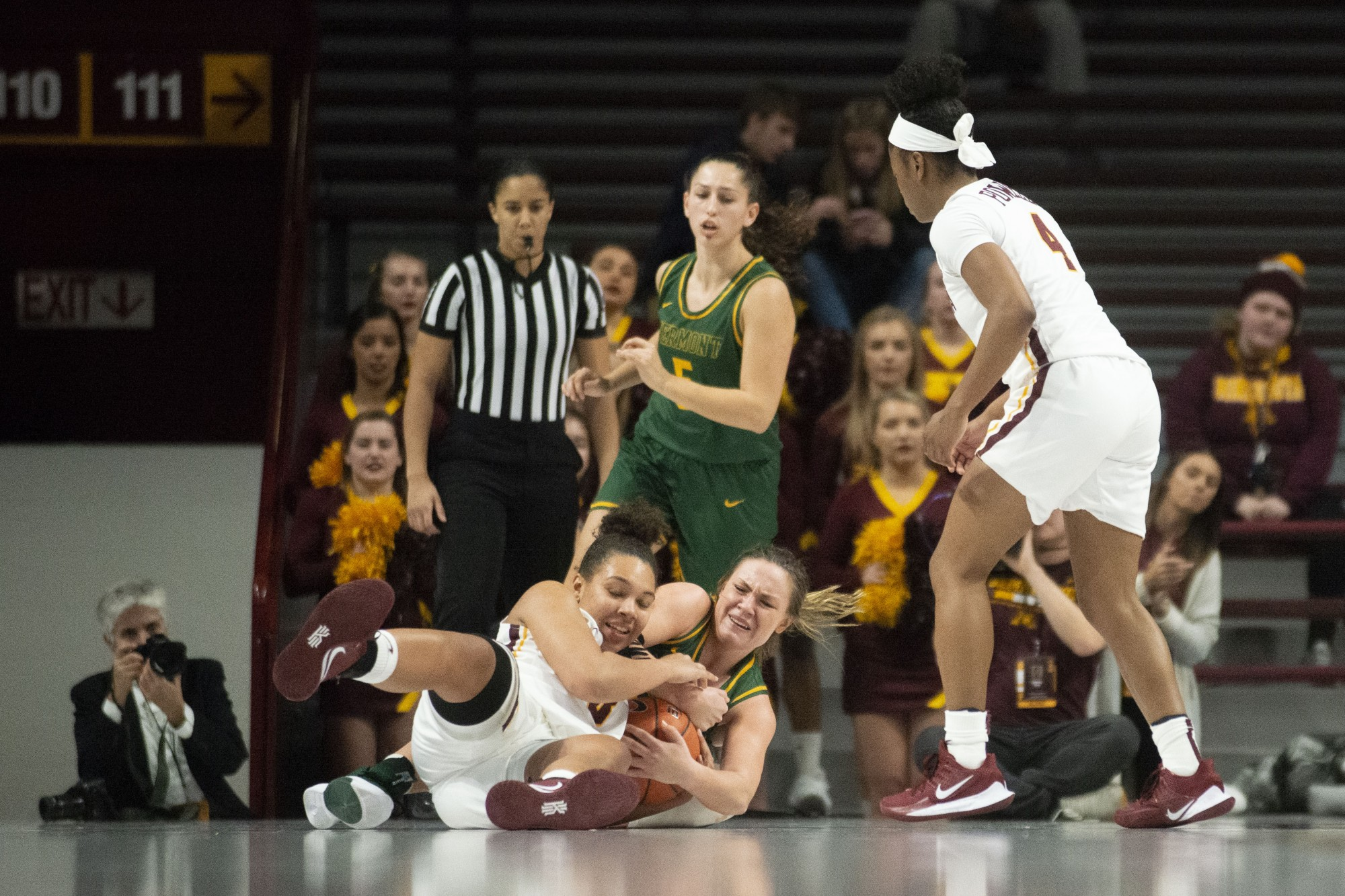 Forward Destiny Pitts fights for the ball at Williams Arena on Sunday, Nov. 10. The Gophers defeated Vermont 90-58.