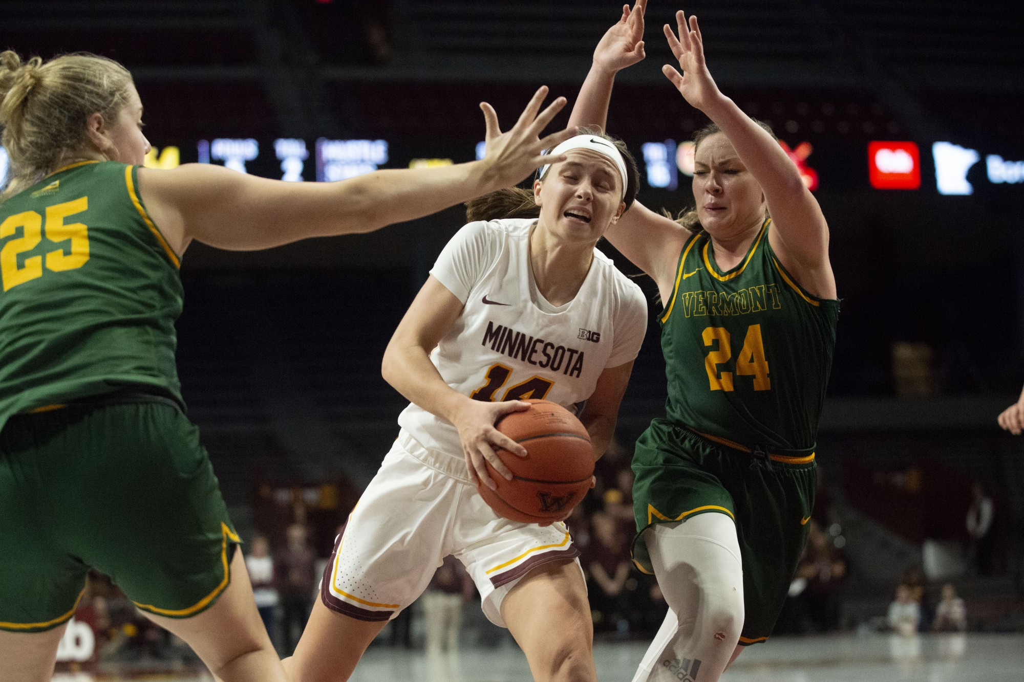 Guard Sara Scalia drives towards the hoop at Williams Arena on Sunday, Nov. 10. The Gophers defeated Vermont 90-58.