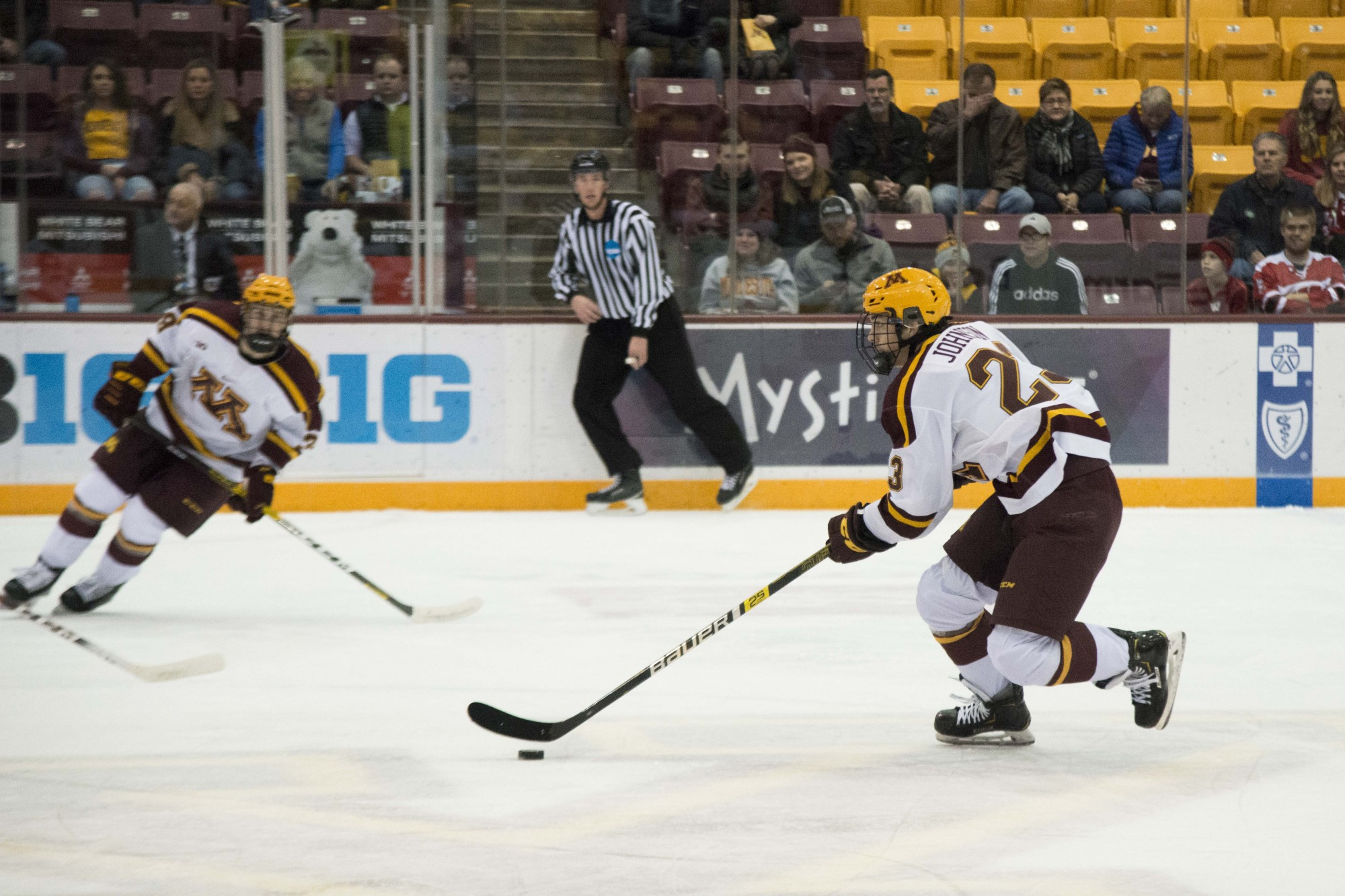 Defender Ryan Johnson skates with the puck during the game against the Wisconsin Badgers at 3M Arena at Mariucci on Friday, Nov. 22. The Gophers won 4-1.