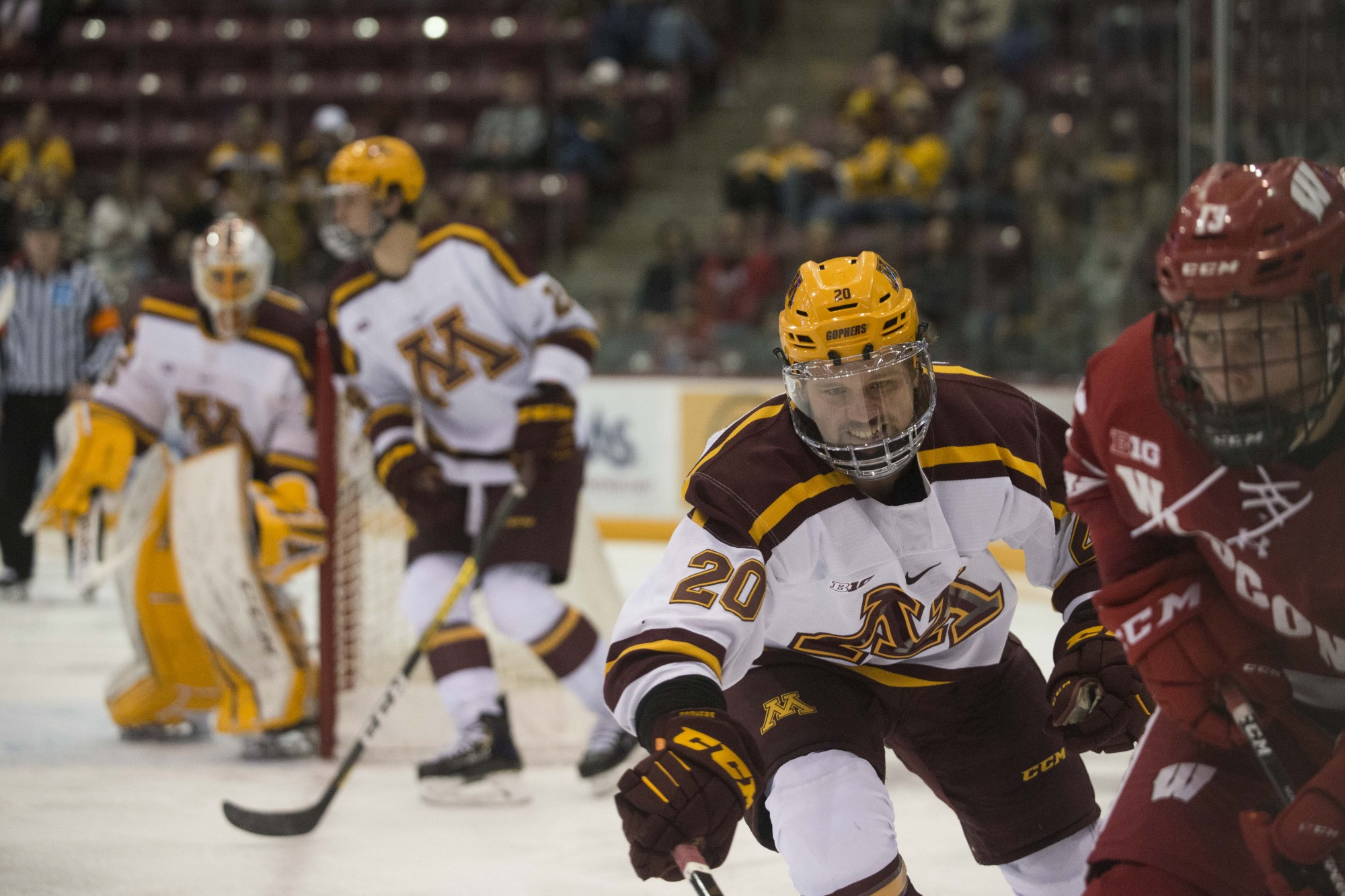 Defender Ryan Zuhlsdorf skates after the puck during the game against the Wisconsin Badgers at 3M Arena at Mariucci on Friday, Nov. 22. The Gophers won 4-1.