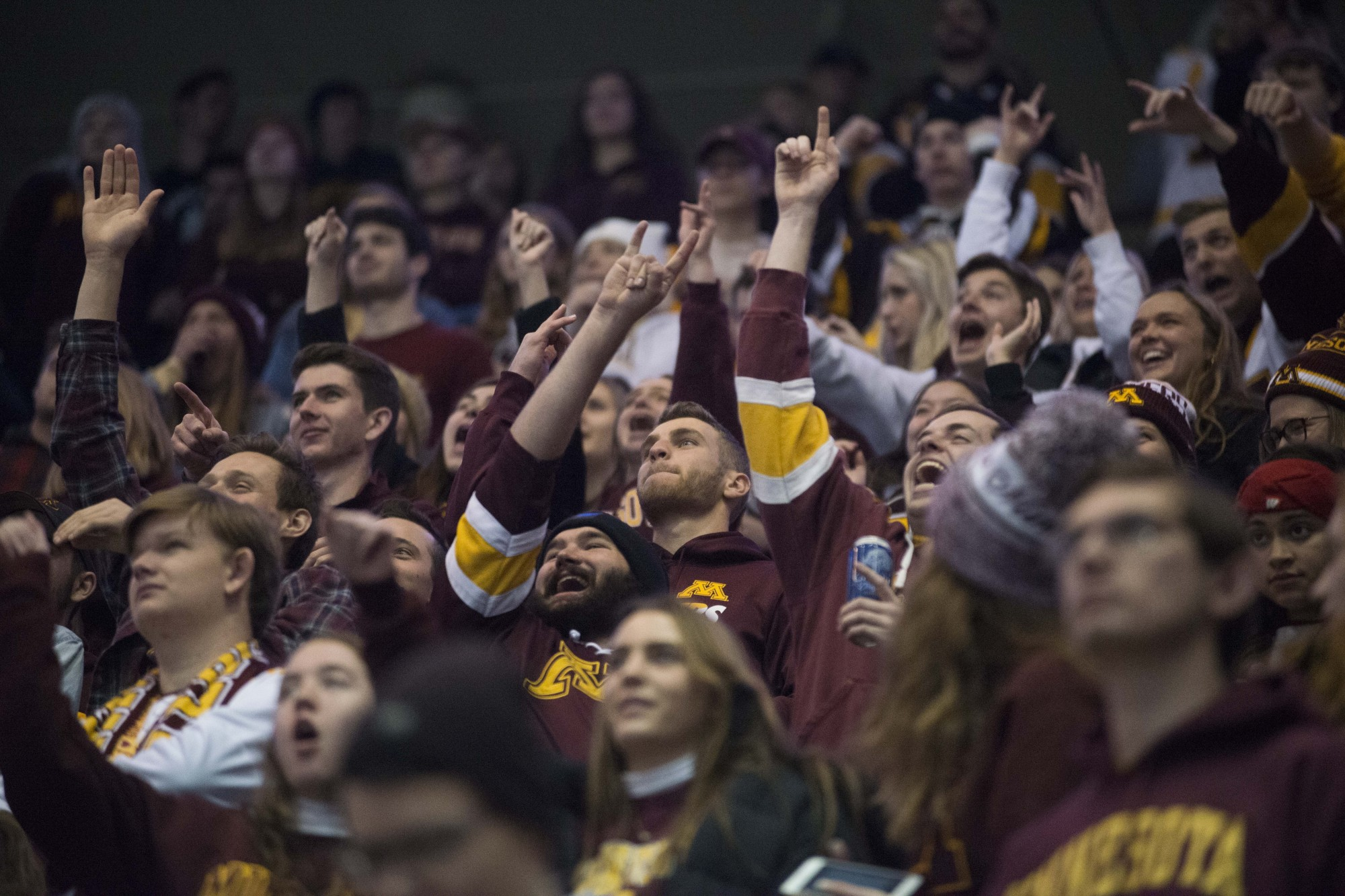 Fans cheer for the Gophers during the game against the Wisconsin Badgers at 3M Arena at Mariucci on Friday, Nov. 22. The Gophers won 4-1.