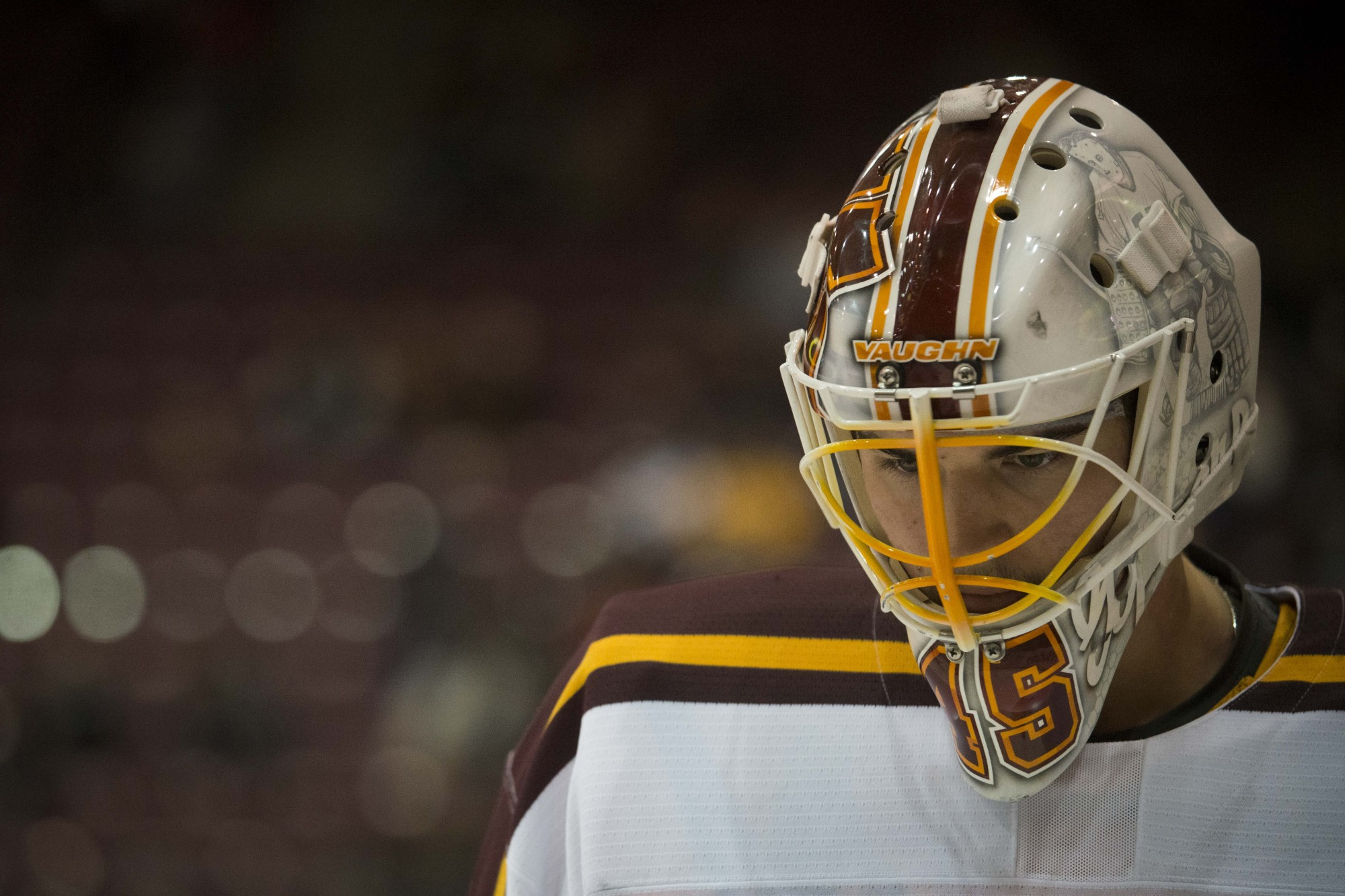 Goaltender Jack LaFontaine composes himself during the game against the Wisconsin Badgers at 3M Arena at Mariucci on Friday, Nov. 22. The Gophers won 4-1.
