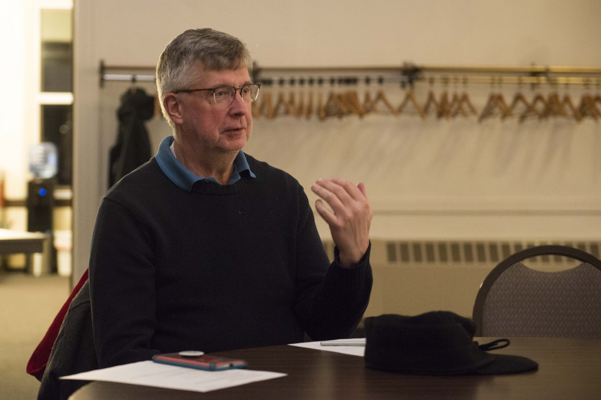 Vic Thorstenson, president of the Marcy-Holmes Neighborhood Association, speaks at an inaugural safety committee meeting at First Congregational Church on Monday, Nov. 11.