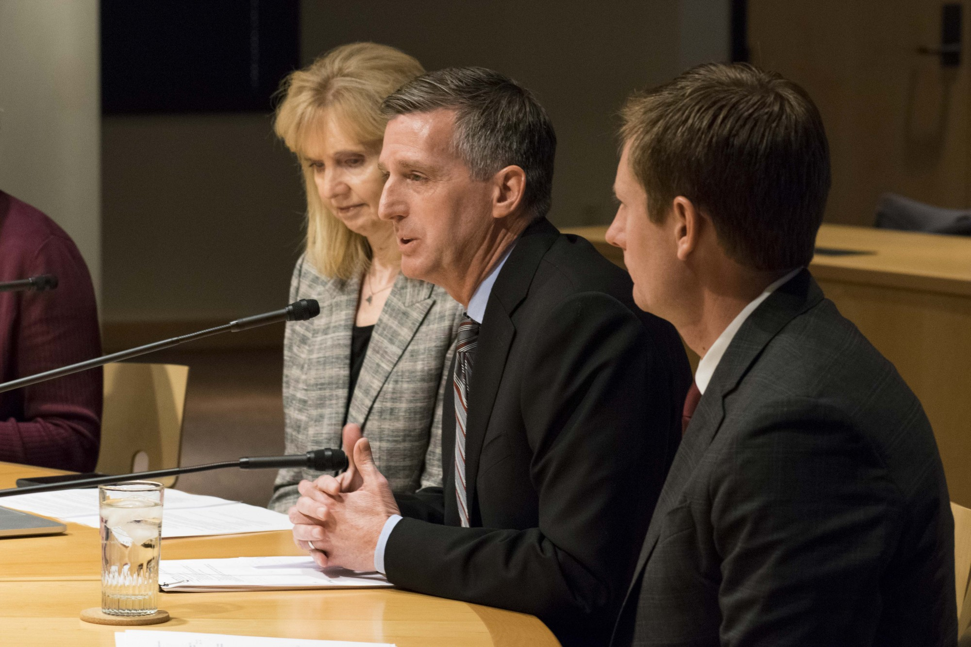 Athletic Director Mark Coyle addresses the Board of Regents in regards to a contract extension signed by head football coach P.J. Fleck at the McNamara Alumni Center on Thursday, Nov. 14, 2019. The deal, signed by Fleck last week, extends his contract through the 2026 season and will increase his base salary to $4.6 million.