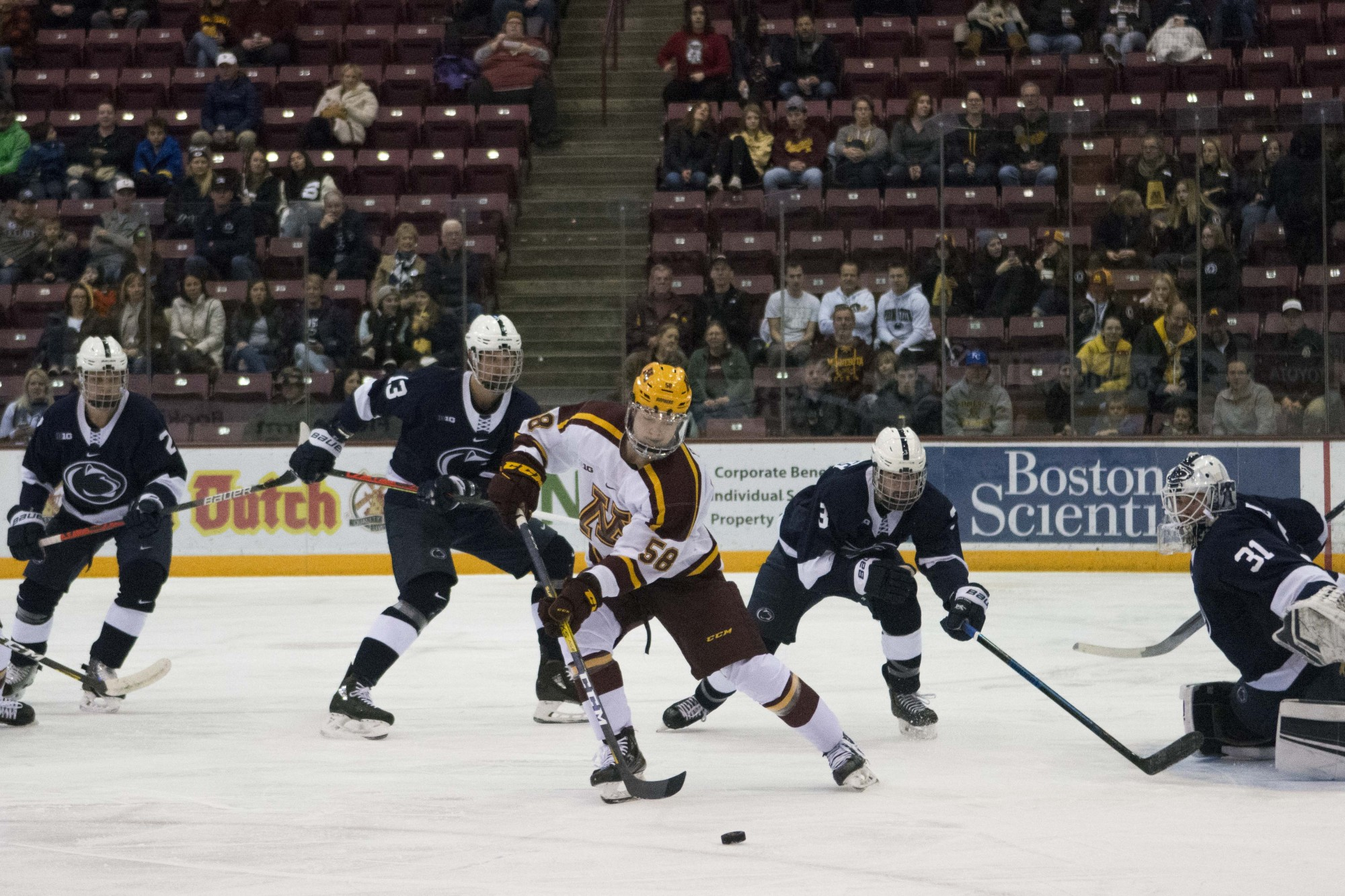 Forward Sampo Ranta handles the puck during the game against the Penn State at 3M Arena at Mariucci on Friday, Nov. 15.