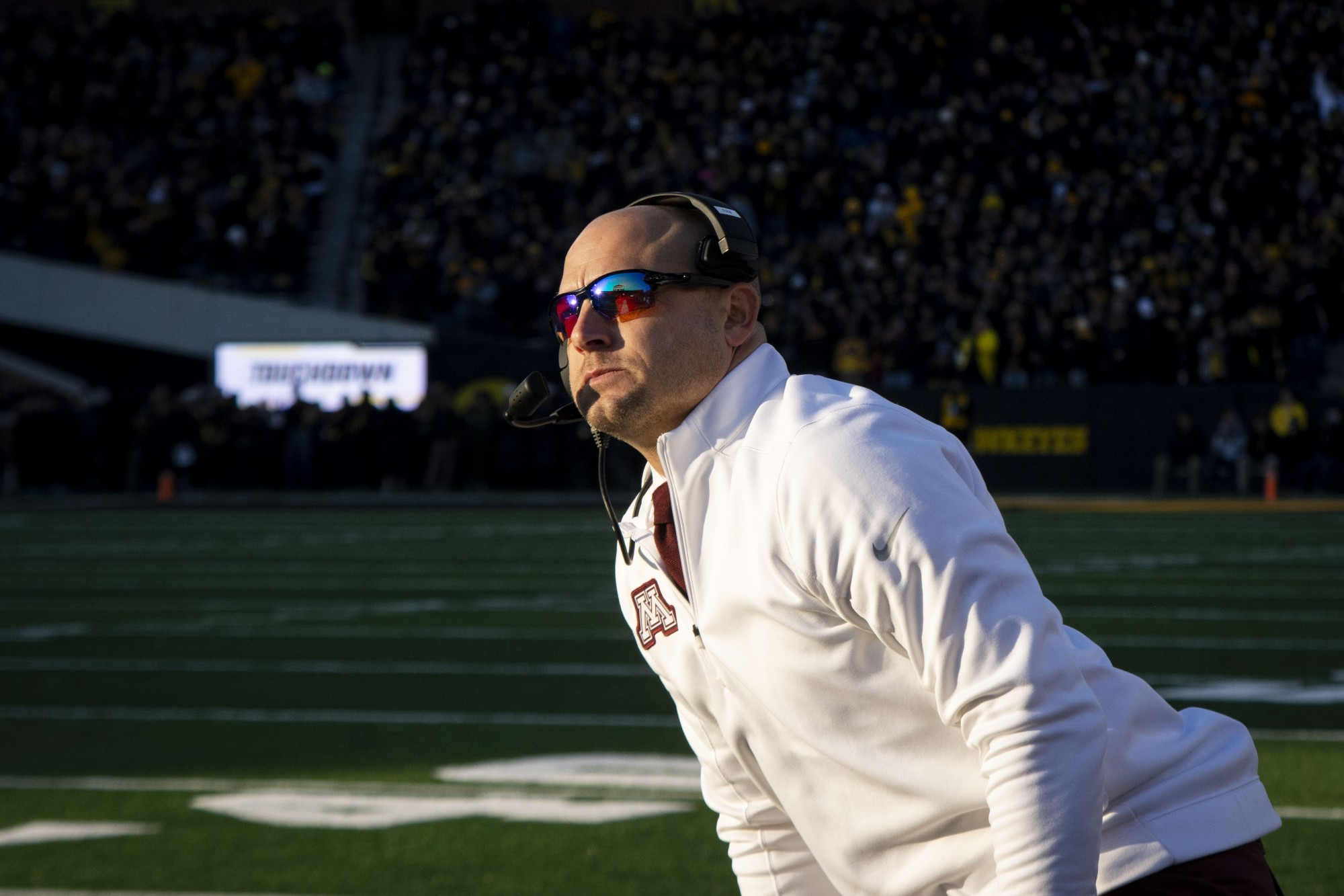 Head Coach P.J. Fleck observes the game at Kinnick Stadium on Saturday Nov. 16. Iowa defeated the Gophers 23-19 ending their winning streak and bringing their record to 9-1.