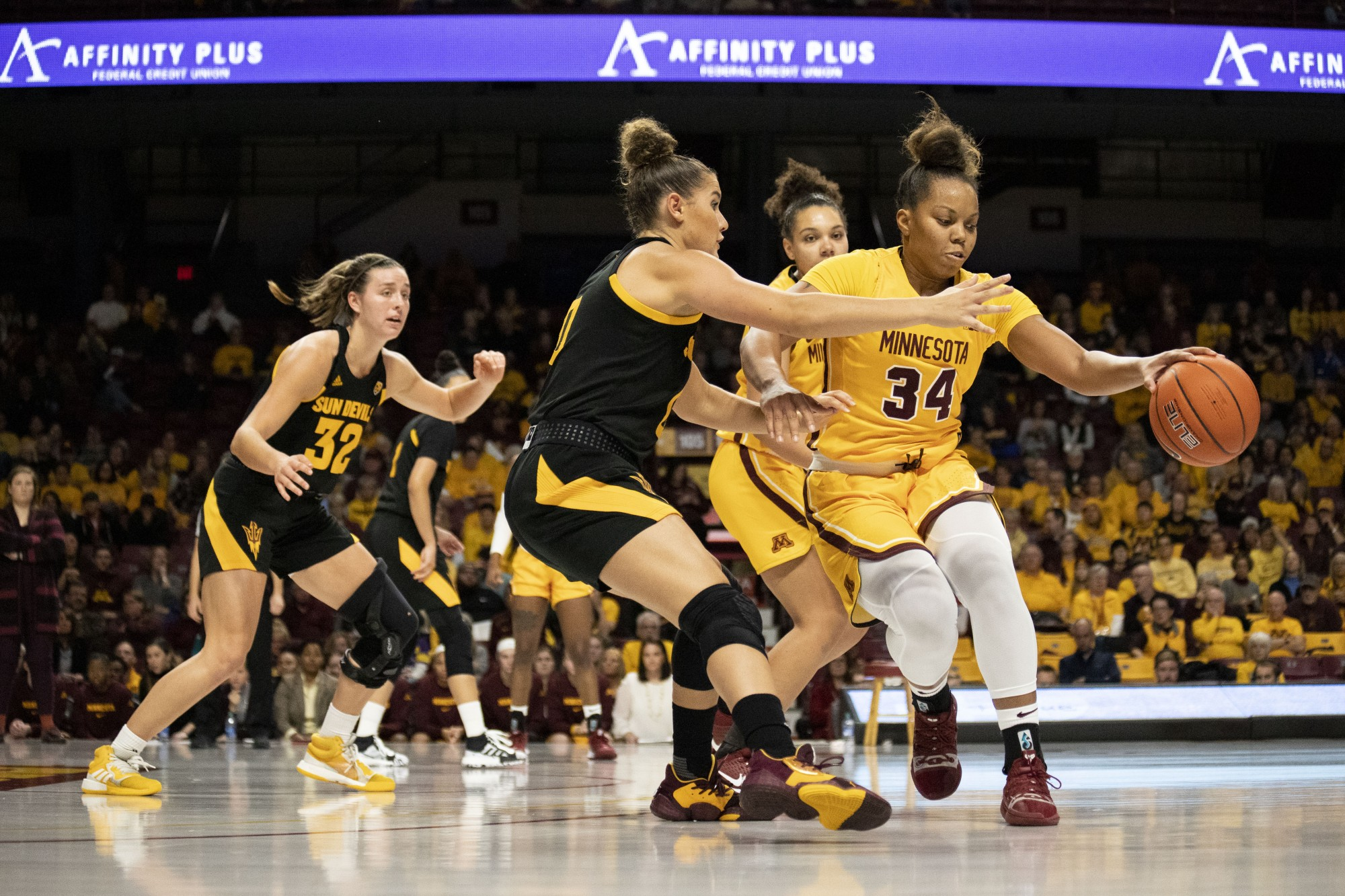 Guard Gadiva Hubbard reaches to grab the ball during the game against Arizona State at Williams Arena on Sunday, Nov. 17, 2019. The Gophers defeated the Sun Devils 80-66.