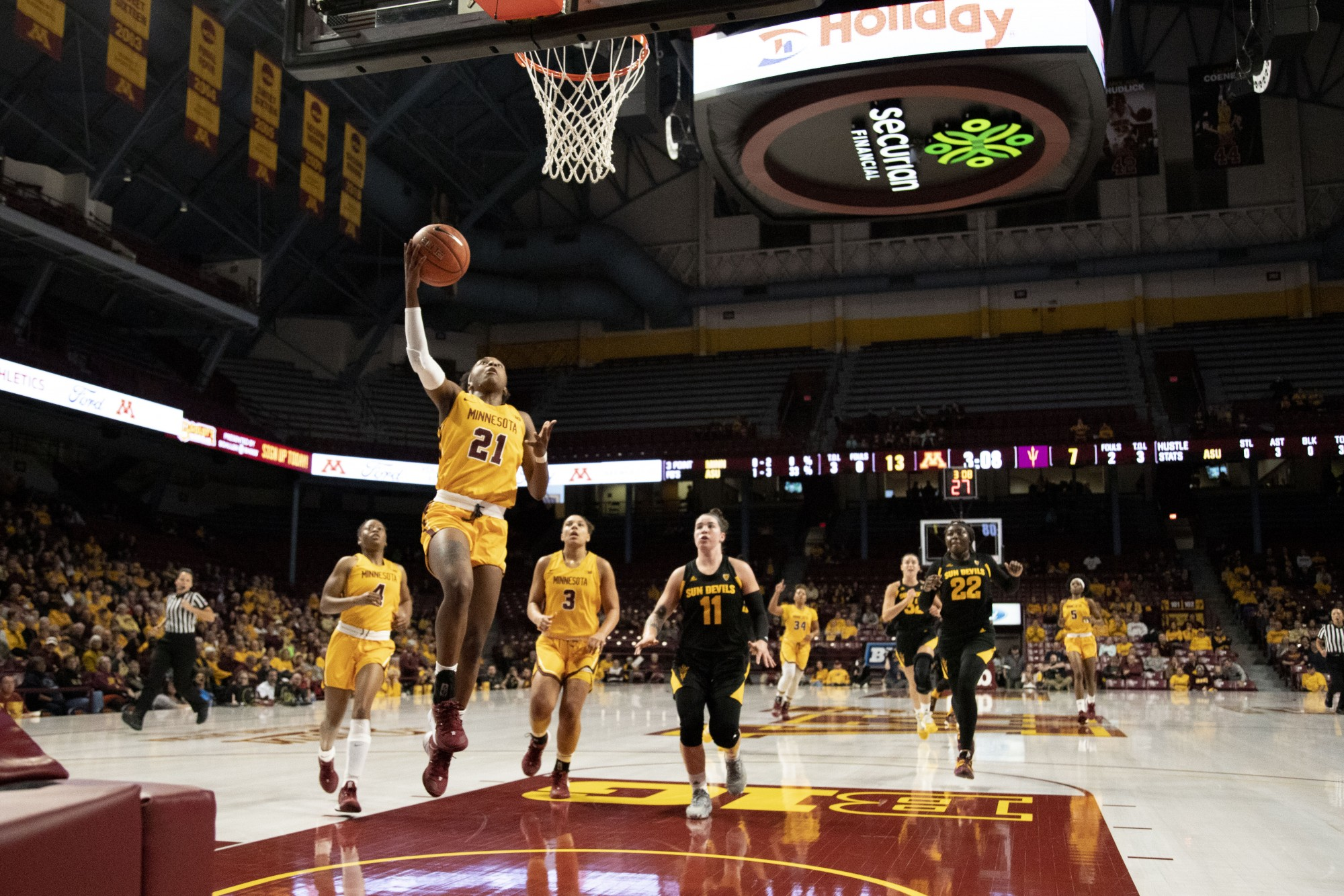 Guard Jasmin Brunson lays the ball up during the game against Arizona State at Williams Arena on Sunday, Nov. 17. The Gophers defeated the Sun Devils 80-66.