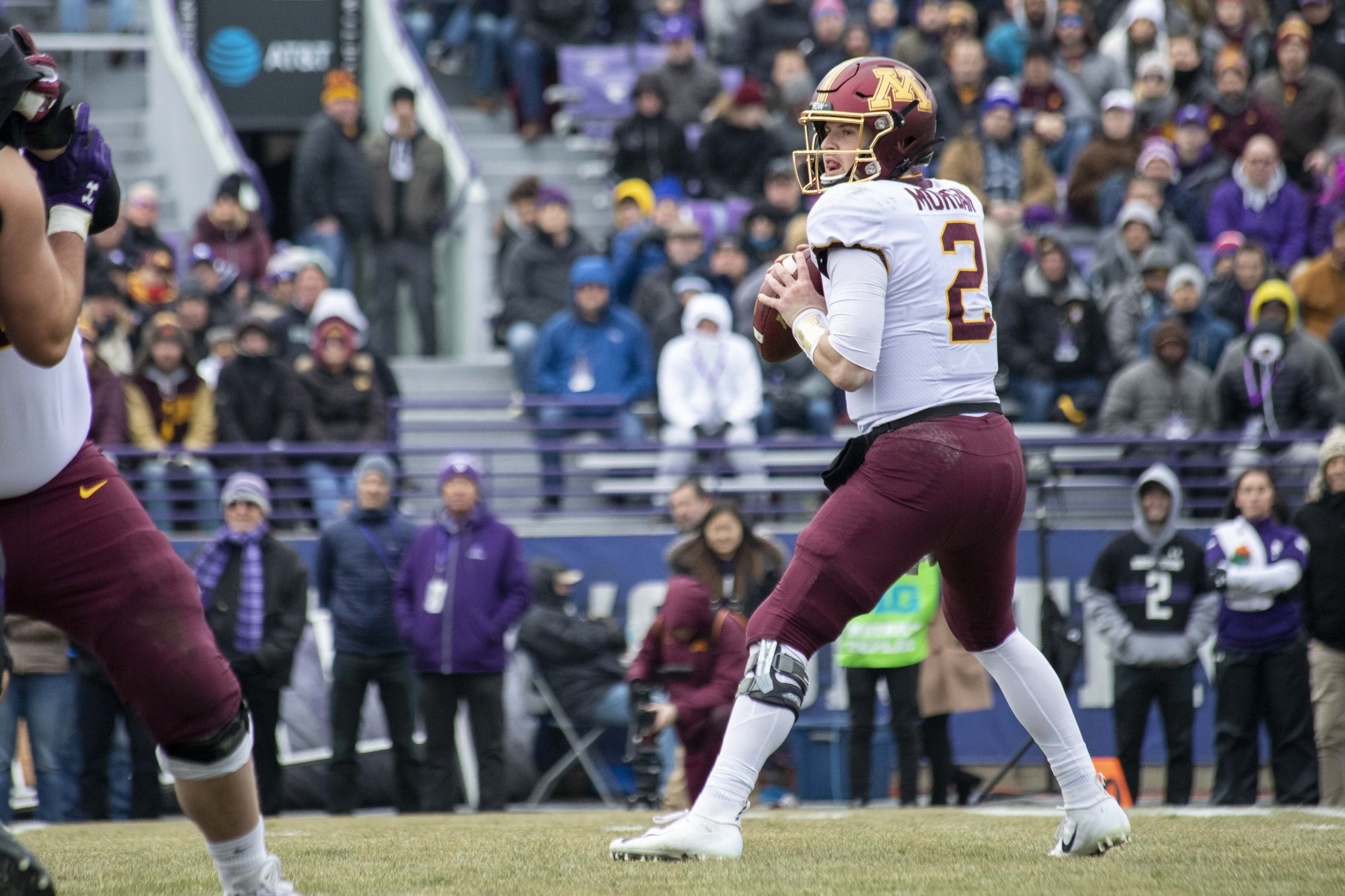 Quarterback Tanner Morgan looks to throw the ball at Ryan Field during the game against the Northwestern Wildcats on Saturday, Nov. 23. The Gophers earned a 38-22 victory bringing their record to 10-1.