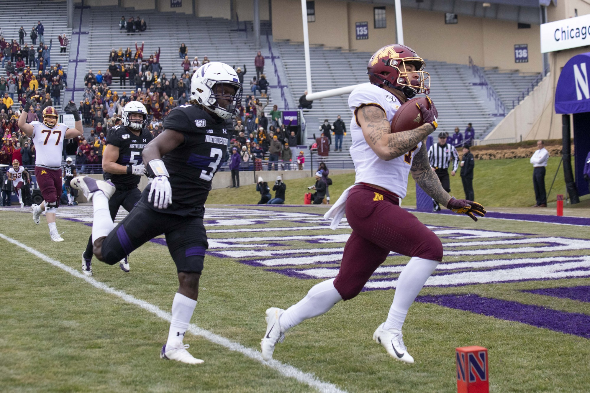 Running back Shannon Brooks carries the ball into the end zone at Ryan Field during the game against the Northwestern Wildcats on Saturday, Nov. 23. The Gophers earned a 38-22 victory bringing their record to 10-1.
