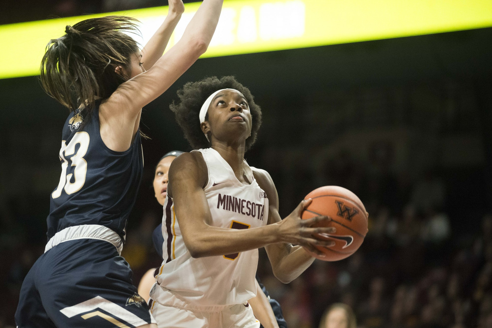 Forward Taiye Bello attempts a layup amidst defenders at Williams Arena on Saturday, Nov. 23. The Gophers went on to defeat Montana State 71-60.