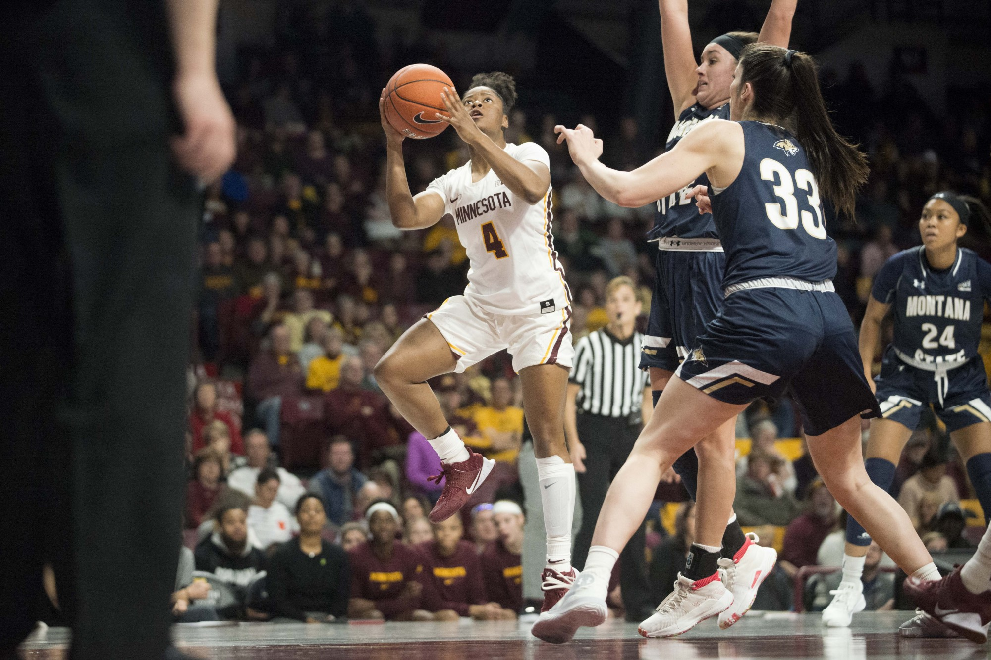 Guard Jasmine Powell attempts a layup in Williams Arena on Saturday, Nov. 23. The Gophers went on to defeat Montana State 71-60.