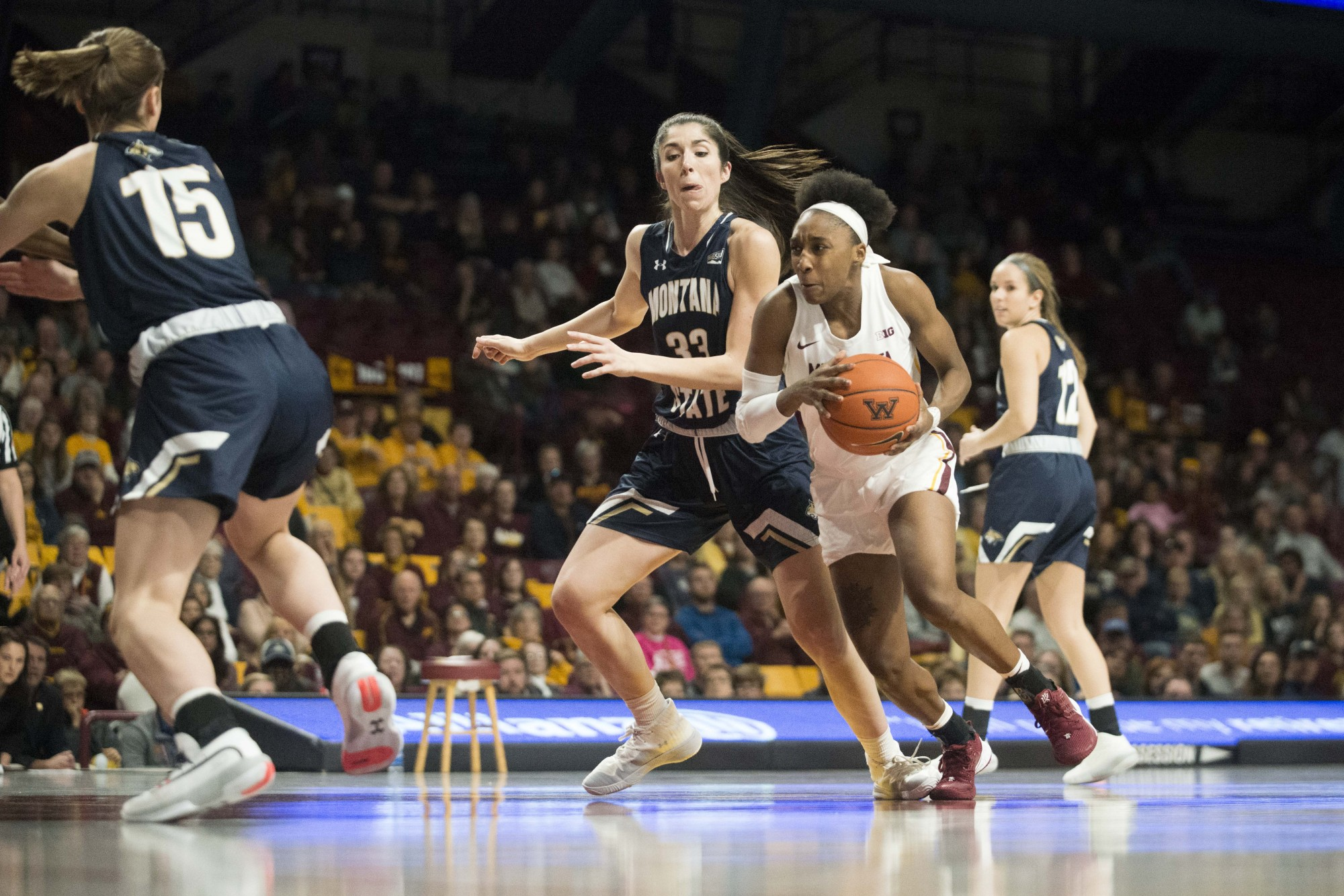 Guard Jasmine Brunson drives towards the hoop in Williams Arena on Saturday, Nov. 23. The Gophers went on to defeat Montana State 71-60. (Liam Armstrong / Minnesota Daily).