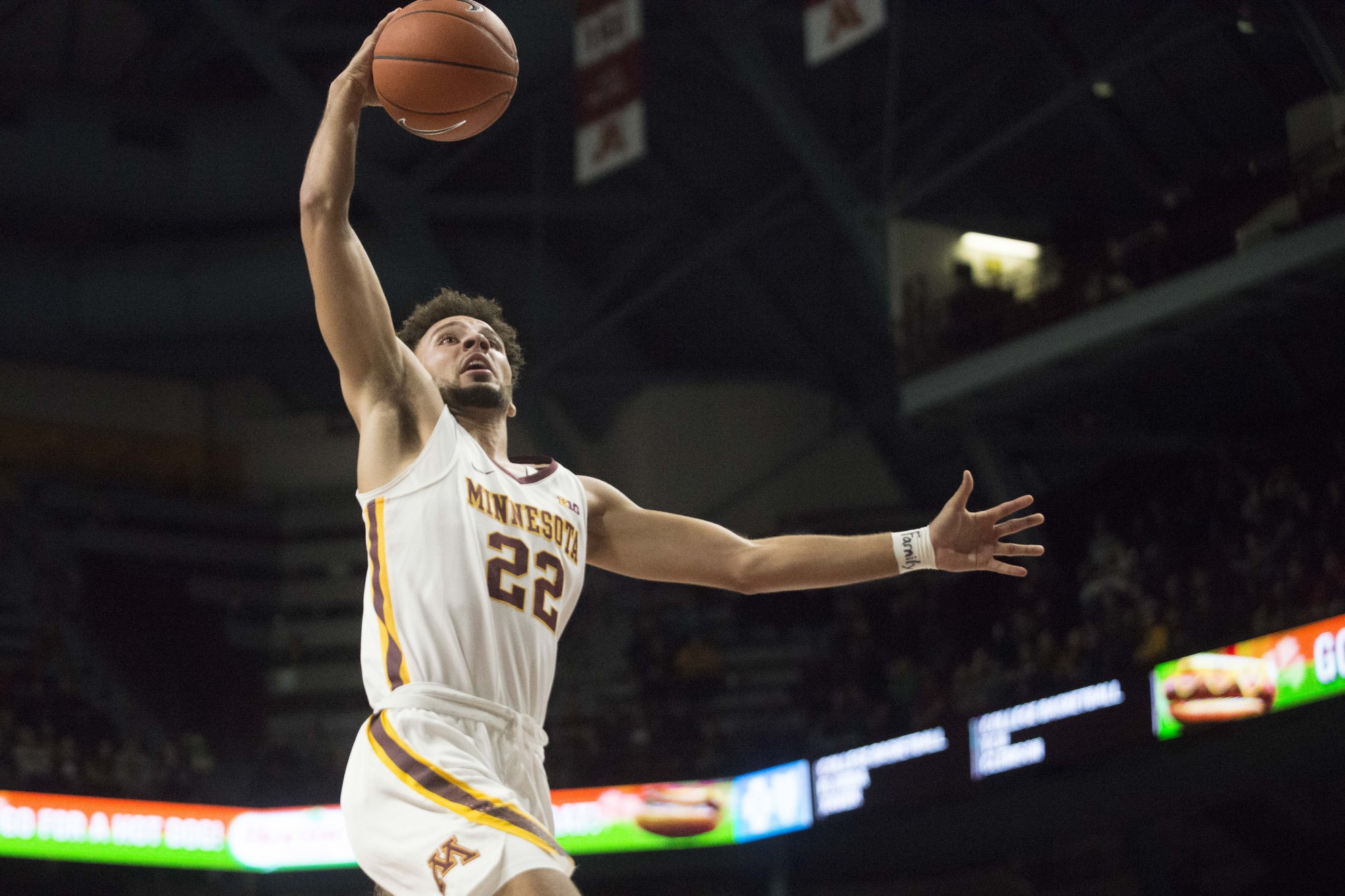 Guard Gabe Kalscheur goes for a layup at Williams Arena on Sunday, Nov. 24. The Gophers defeated North Dakota 79-56.