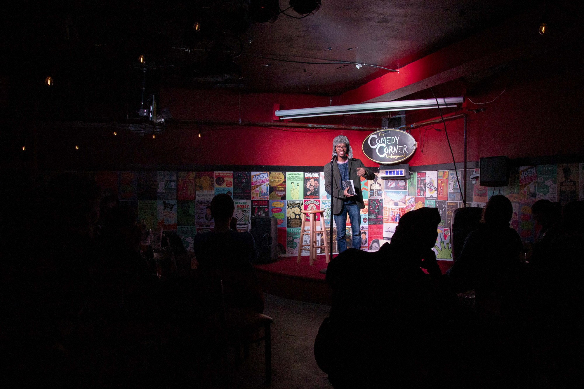 Devohn Bland, host of Fresh Bleats, a workshop where comedians are given given five minutes to try out new acts, speaks at the Comedy Corner Underground on Thursday, Nov. 21.
