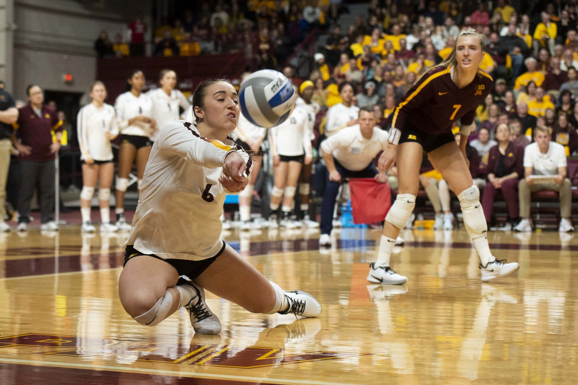 Rachel Kilkelly dives for the ball at the Maturi Pavilion on Friday, Nov. 22. The Gophers took Nebraska to five sets but ultimately fell 3-2.