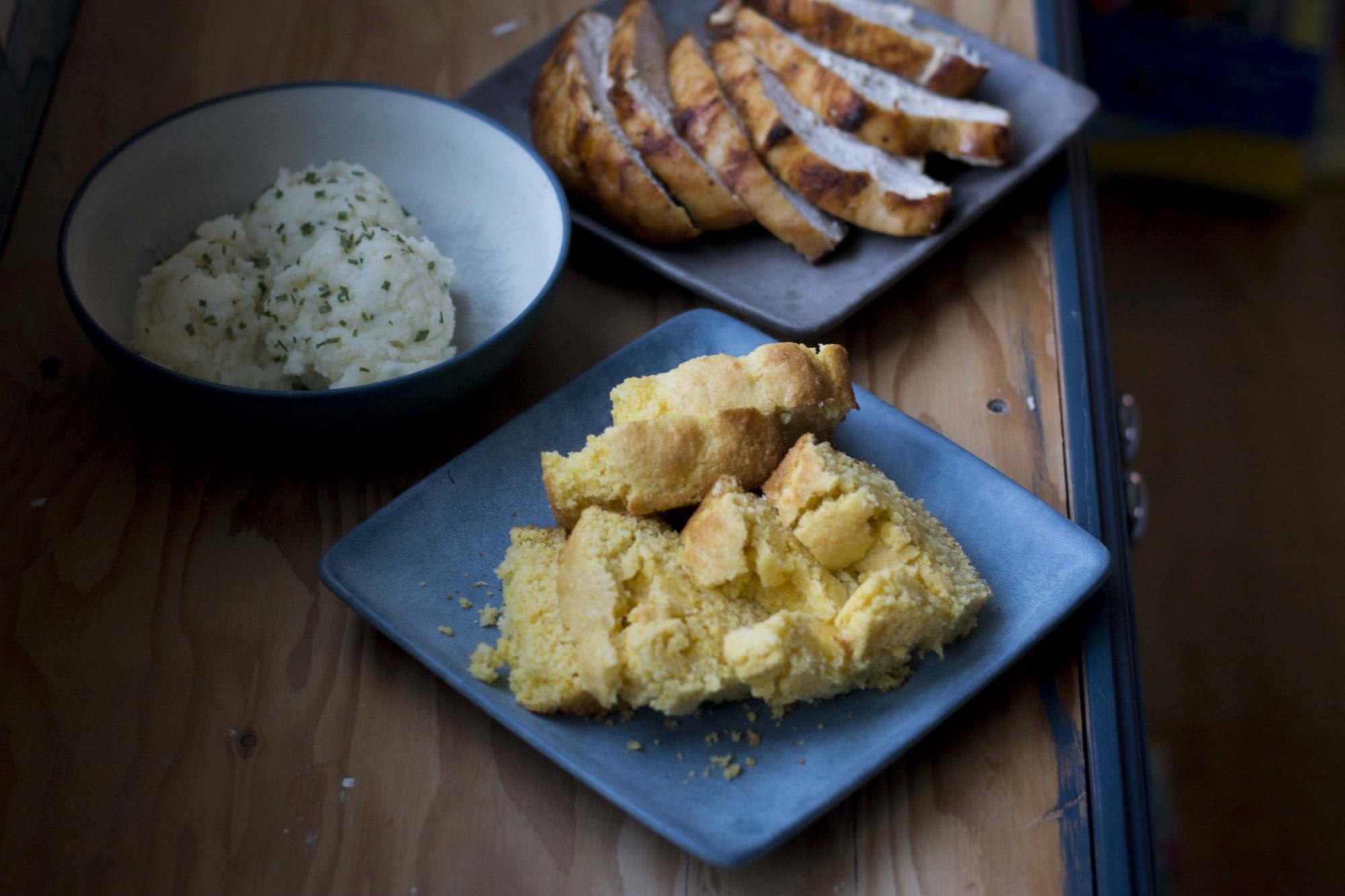 Cornbread, turkey and mashed potatoes.