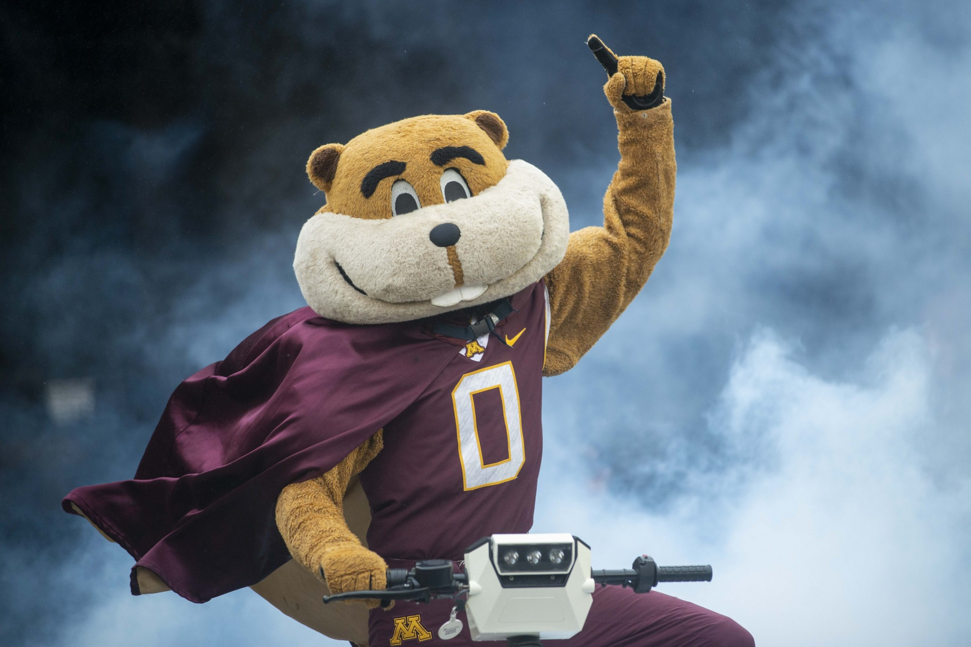 Goldy makes his field entrance during the Gopher game against the Badgers at TCF Bank Stadium on Saturday, Nov. 30.